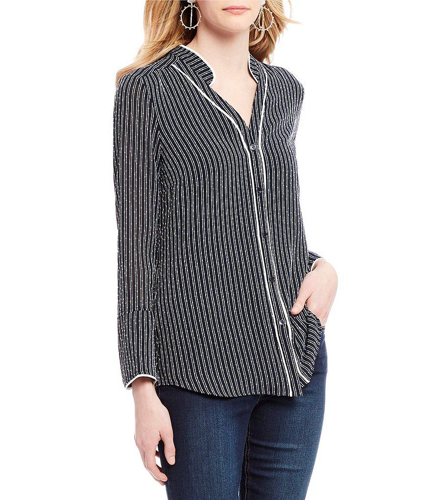 6db383564da Lyst - Jones New York Contrast Pipe Trim Novelty Stripe Print Bell ...