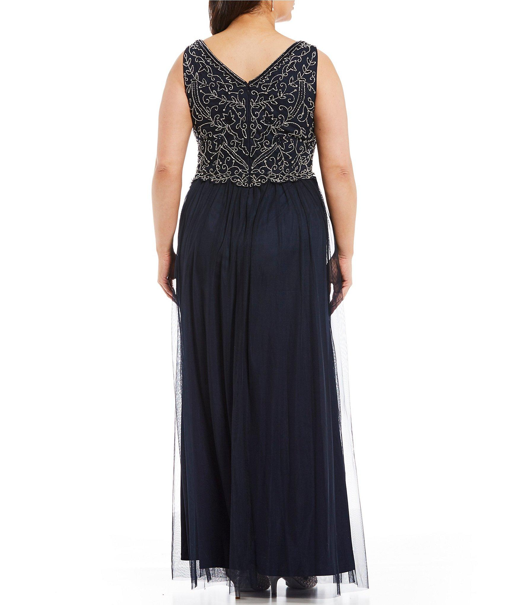 89dde798a1898 Adrianna Papell - Blue Plus Size Sleeveless Beaded V-neck Long Gown - Lyst.  View fullscreen
