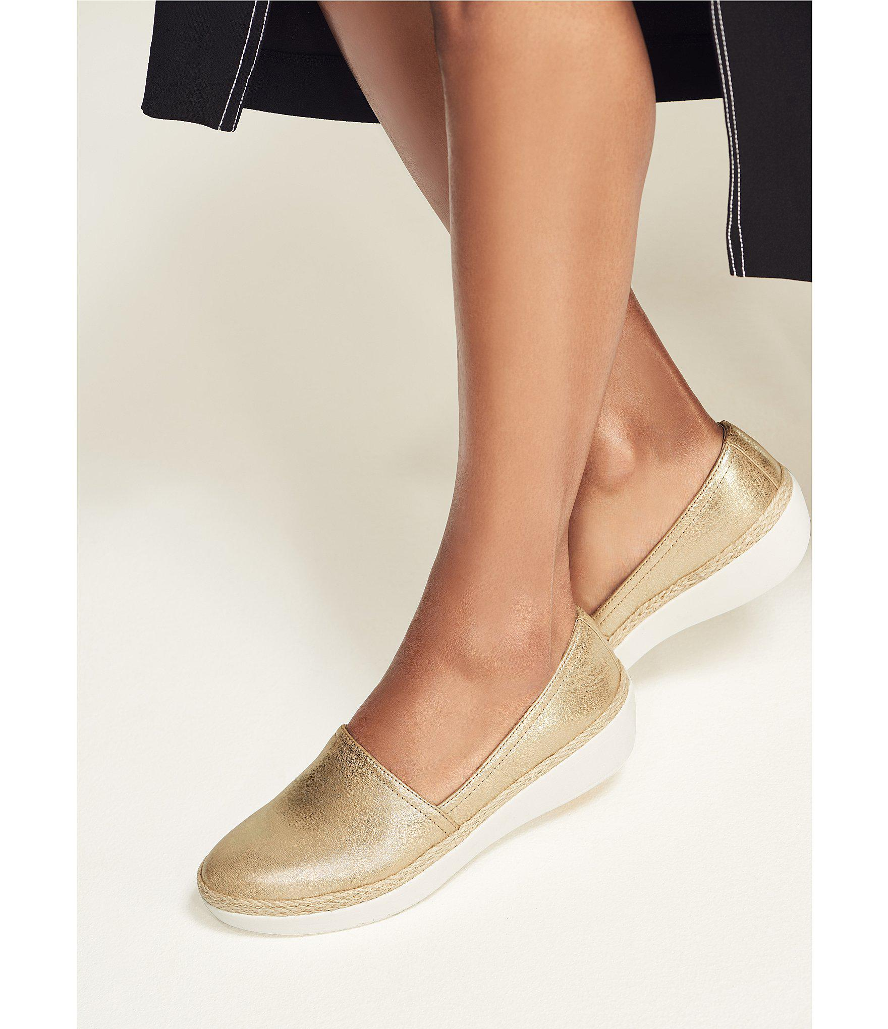 d45e512fb16 Lyst - Fitflop Casa Metallic Leather Slip-on Loafers in Metallic
