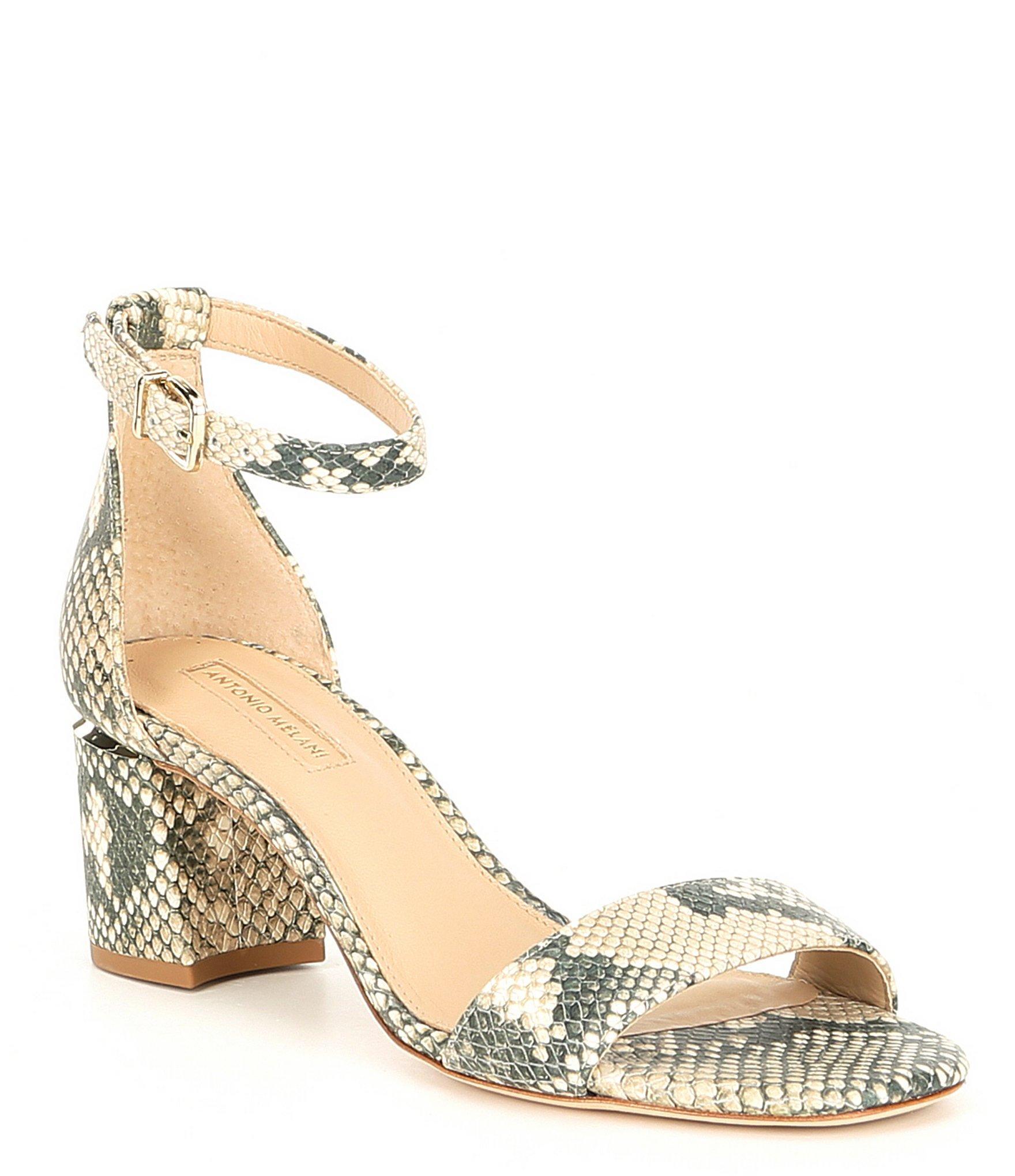 bacfc8884 Antonio Melani. Women s Odella Leather Snake Print Dress Sandals