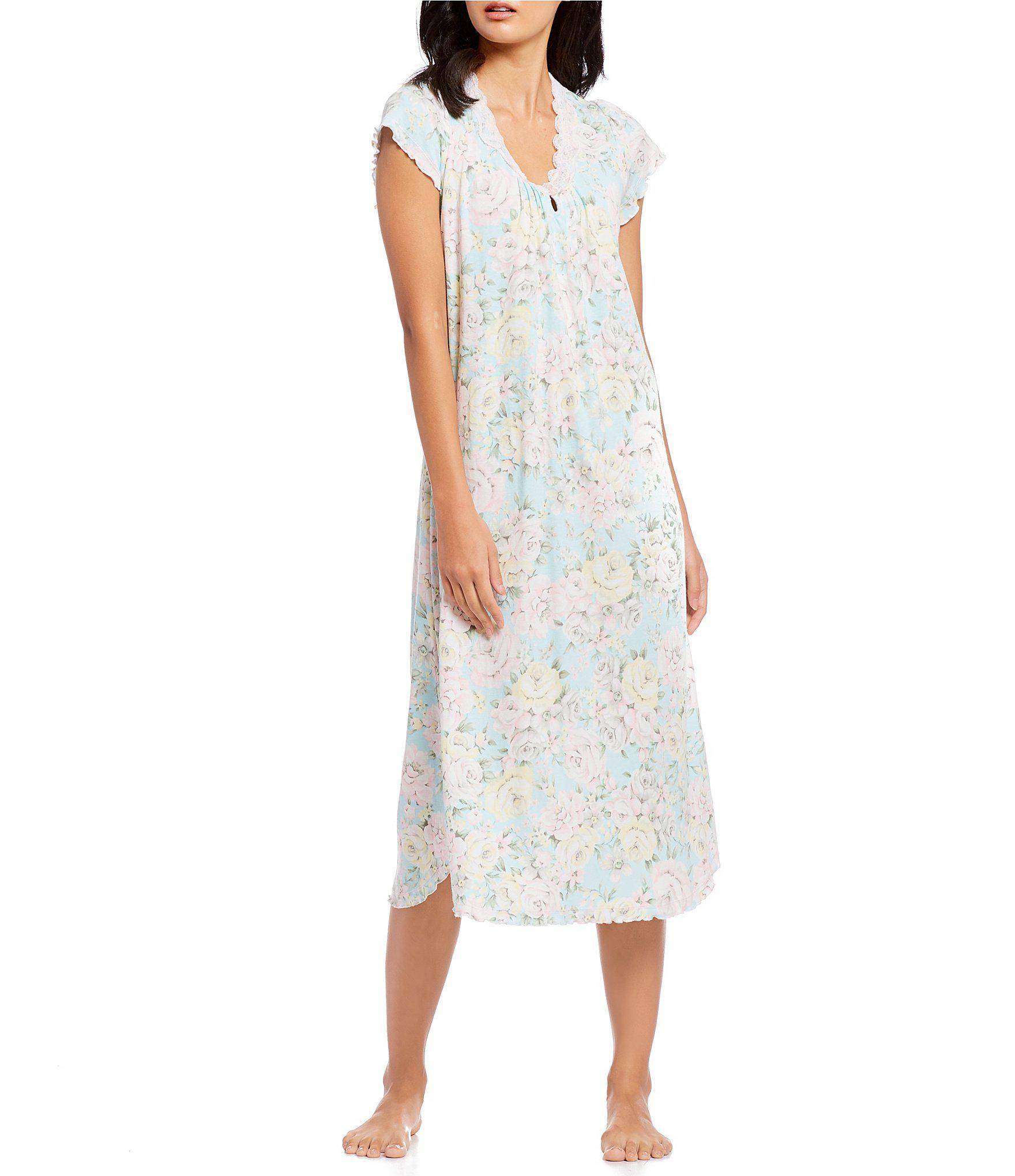 ff4b31673e Miss Elaine. Women s Cottonessa Floral-print Long Nightgown