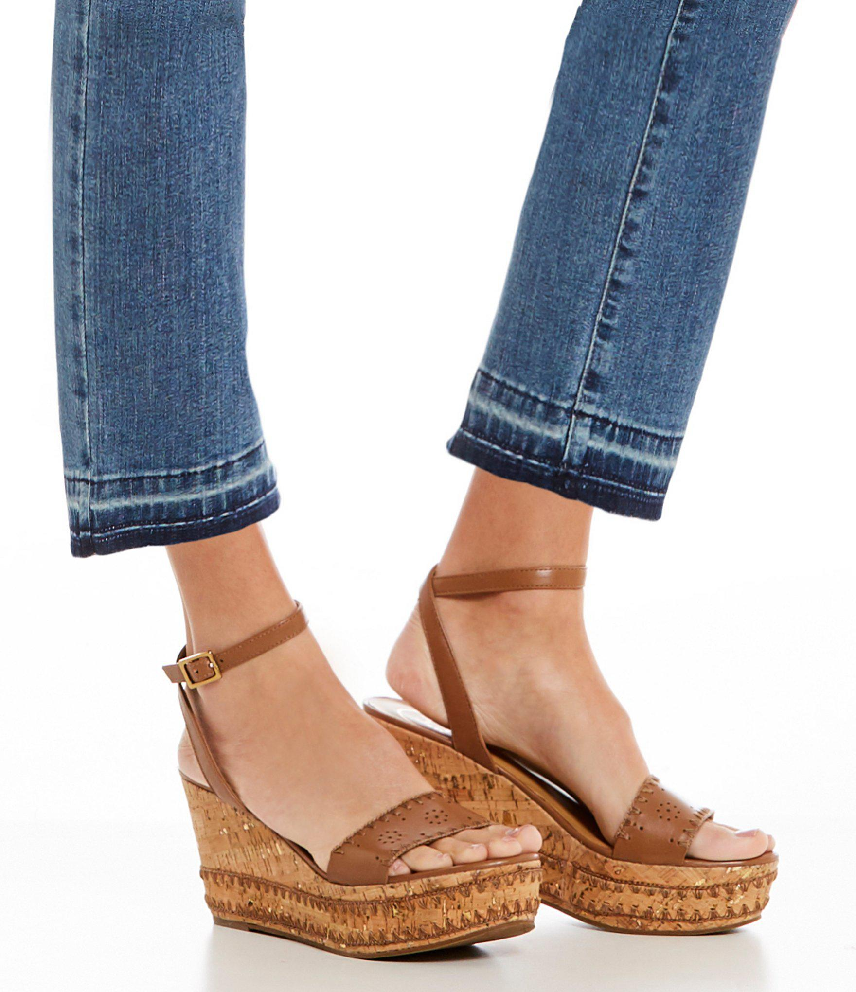 932cae63e4dd Lyst - Jack Rogers Lennon Whipstitch Detail Wedge Sandals in Brown