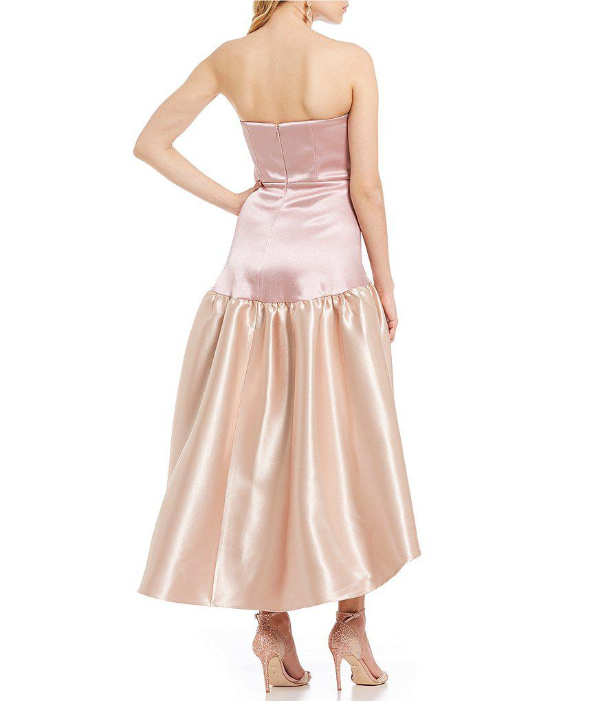 f209d9fb072f Belle By Badgley Mischka Colorblock Hi-low Ball Gown in Pink - Lyst