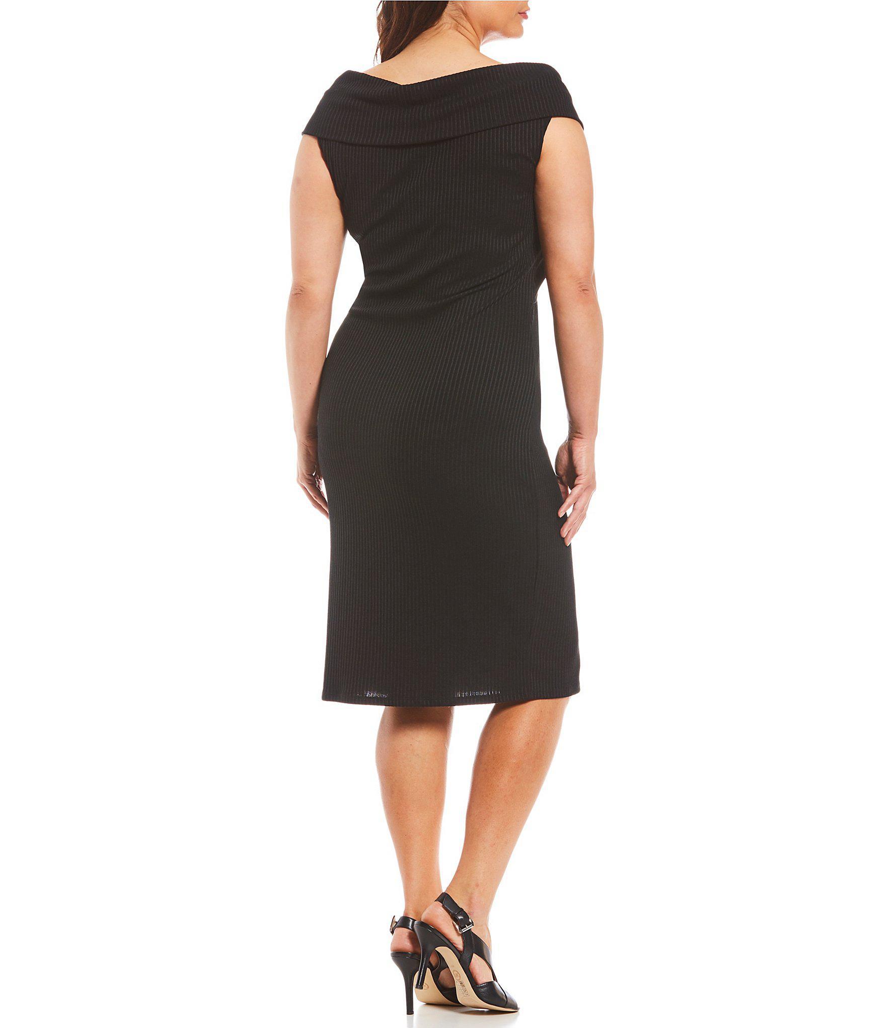 39e2a89ca22ae MICHAEL Michael Kors - Black Plus Crossover Portrait Collar Plaited Rib  Knit Sheath Dress - Lyst. View fullscreen