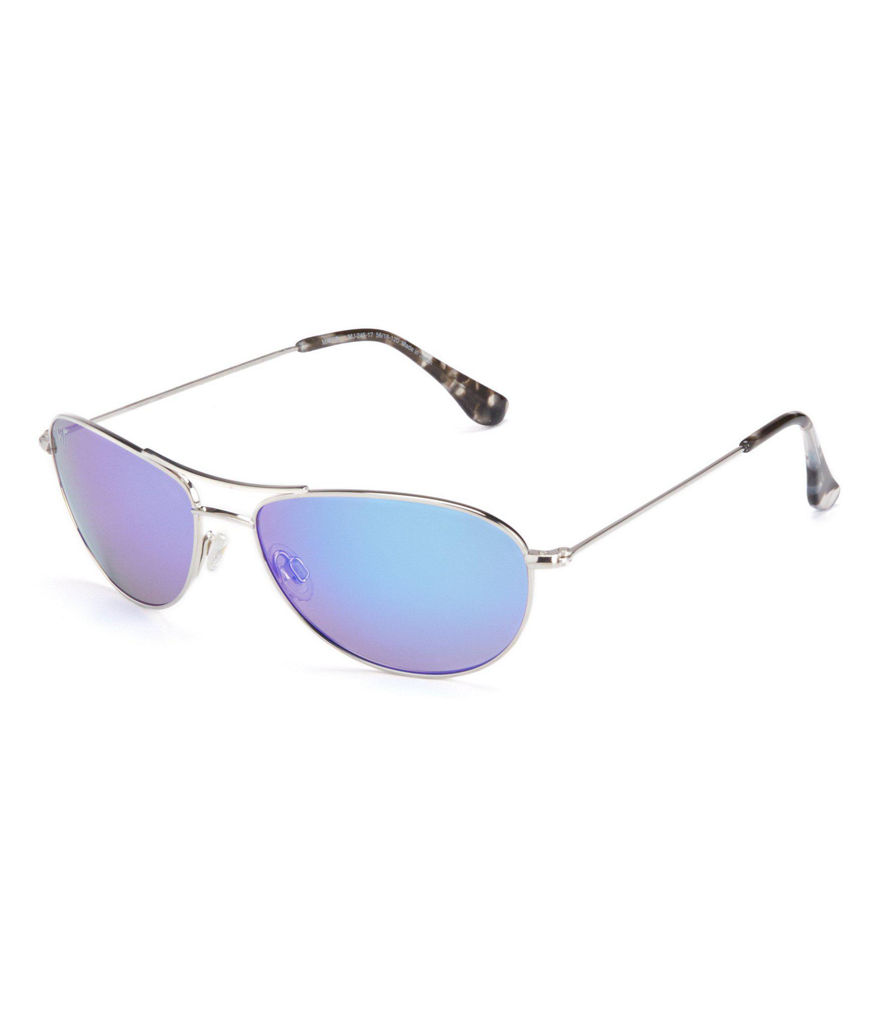 cdd61d56cf Maui Jim Baby Beach Polarized Mirrored Aviator Sunglasses in Blue ...