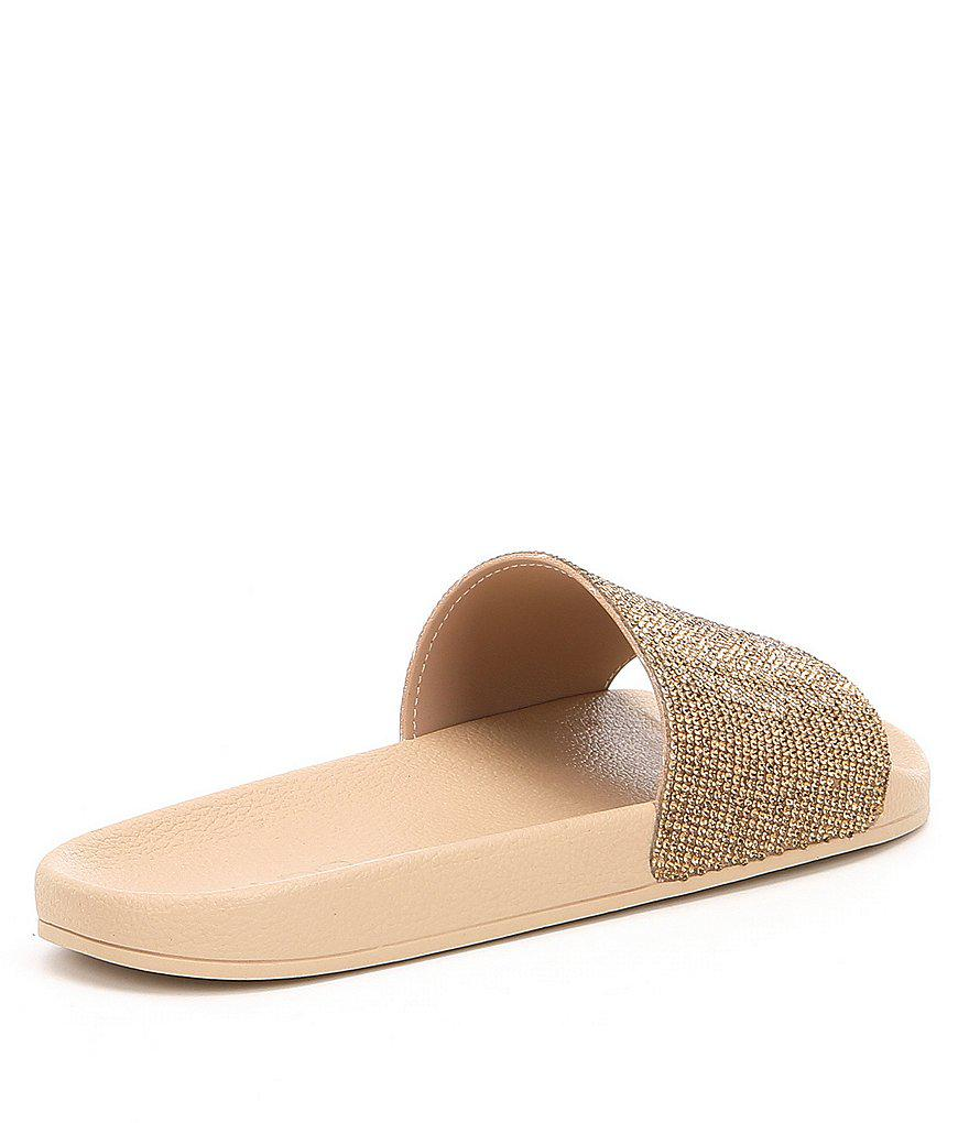 ff6e9d3ee Lyst - ALDO Montagne Rhinestone Detail Slide Sandals in Black