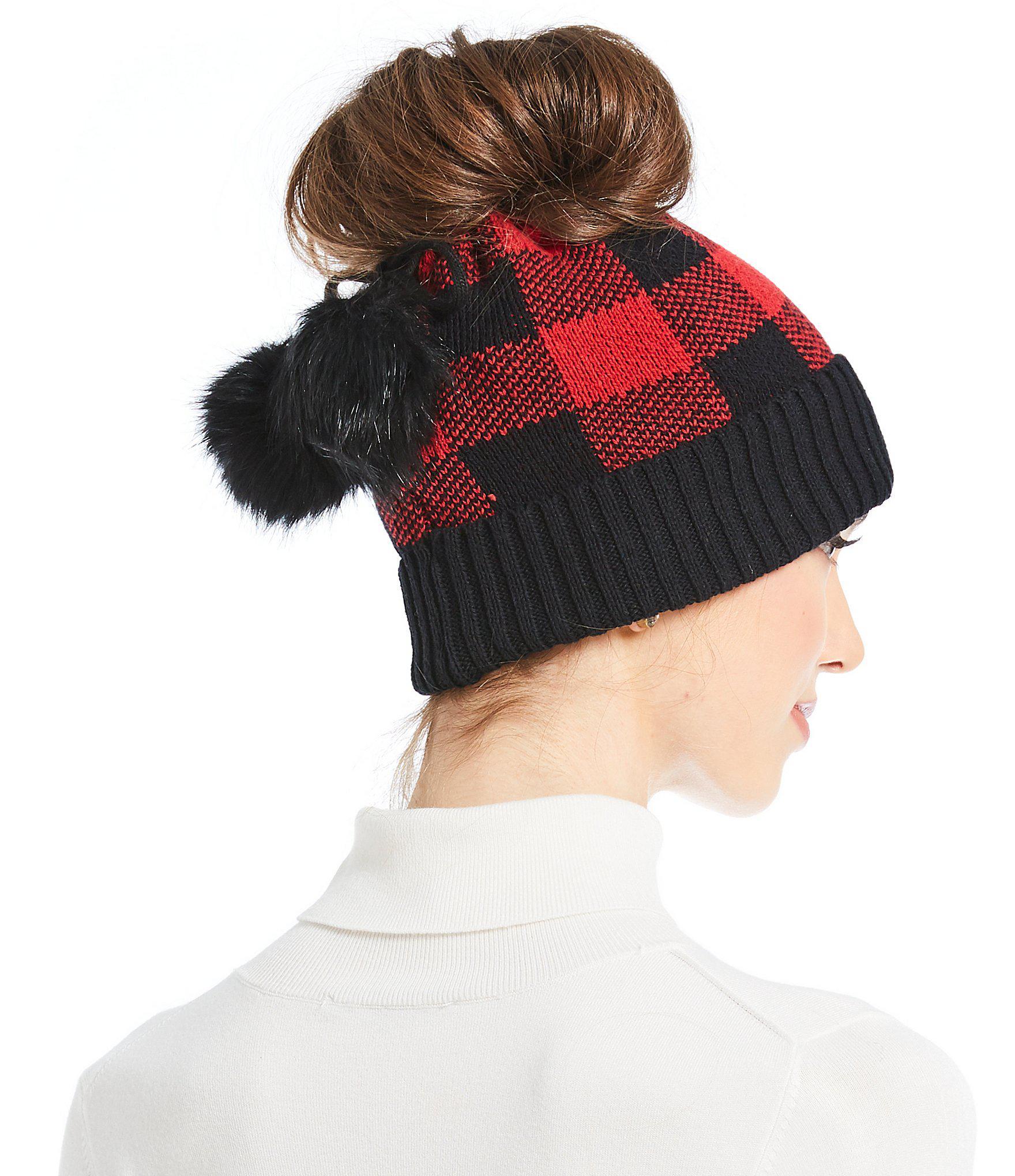 9b0e9cb0ed6 Lyst - Parkhurst Ladies  Check Messy-bun Pom Hat