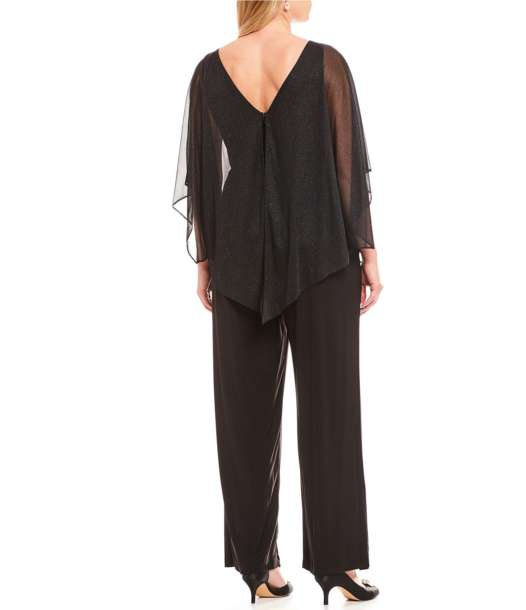 fa77618d94e8 Lyst - Marina Plus Size Sheer Glitter Overlay Capelet Jumpsuit in Black