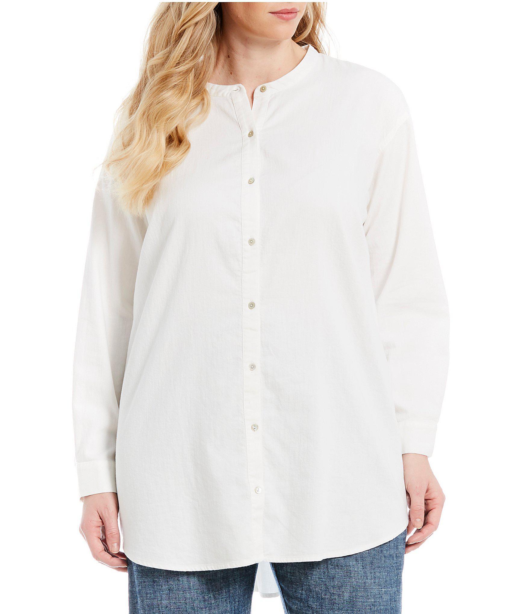 9c421d2349c Eileen Fisher. Women's White Plus Size Mandarin Collar Button Front Shirt