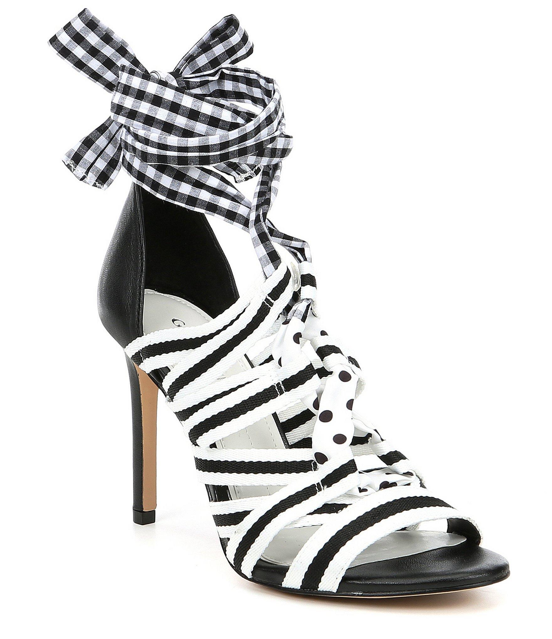 76e44a2623 Gianni Bini Abrianna Gingham Lace Up Dress Sandals in Black - Save ...