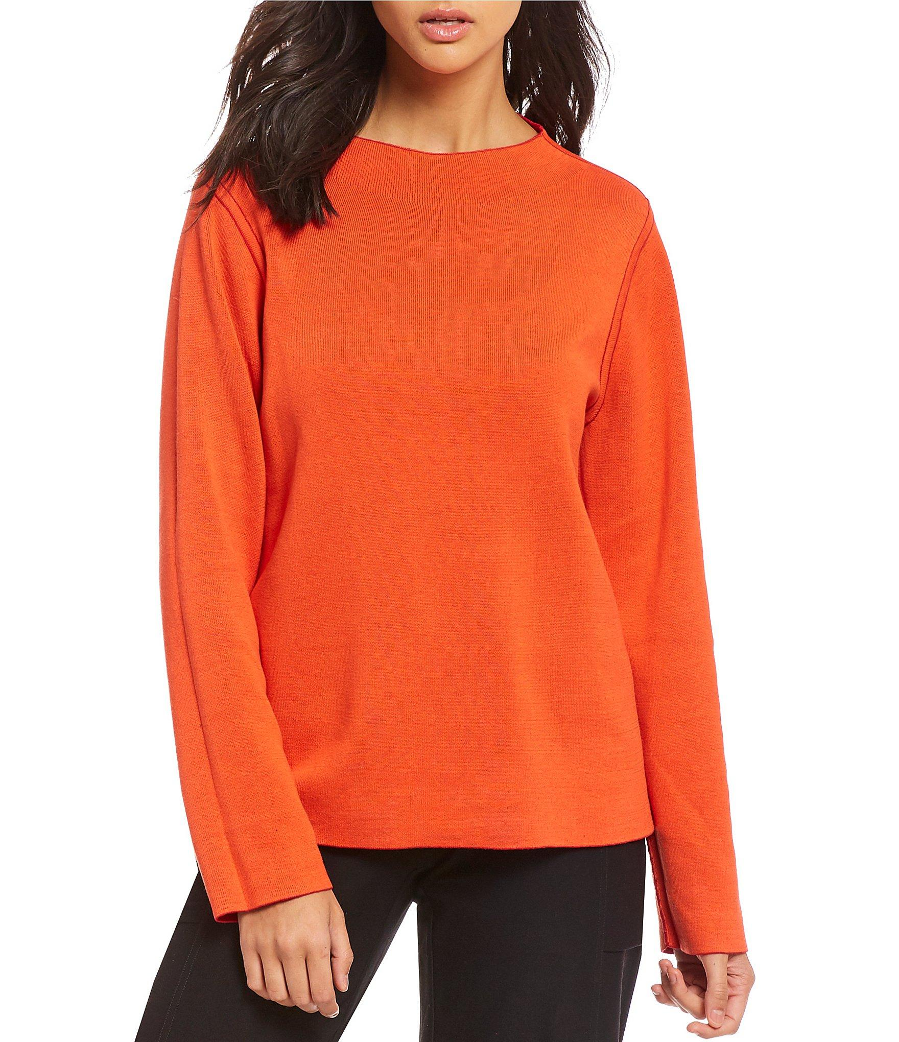 323afee4e79 Eileen Fisher - Red Funnel Neck Reversible Box Top - Lyst. View fullscreen
