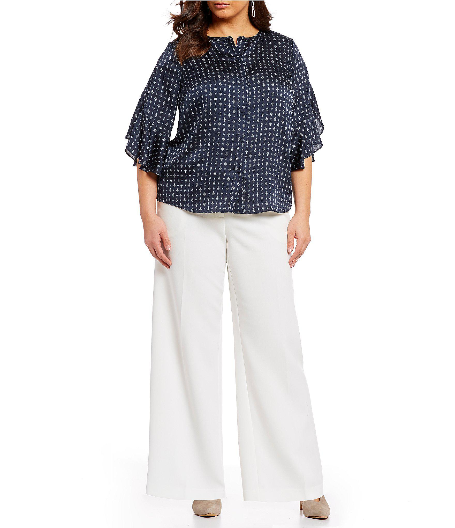 3065b6bf203 Vince Camuto - Blue Plus Size Geo Print Flutter Sleeve Button Front Blouse  - Lyst. View fullscreen