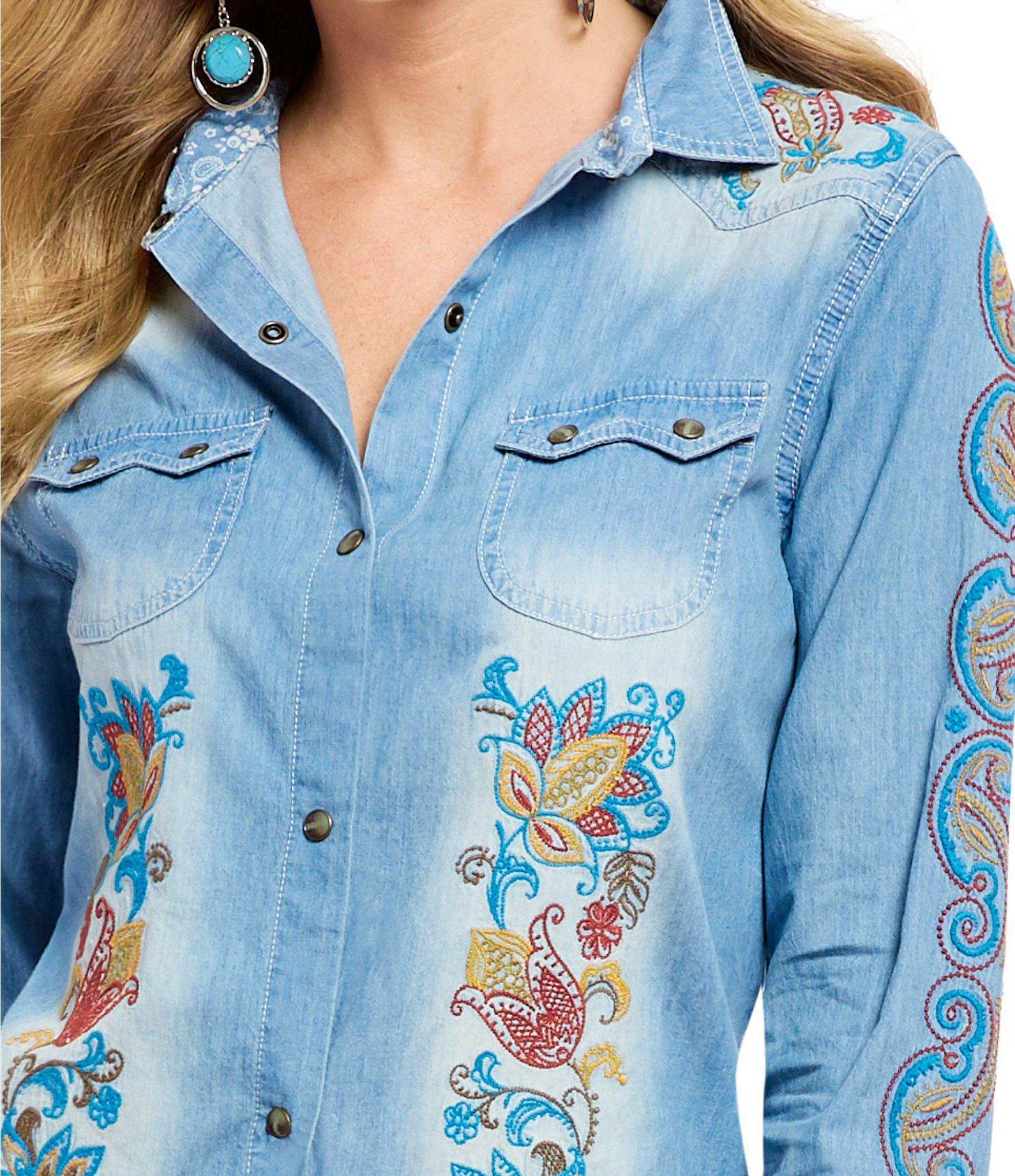 7465e0177d3 Tasha Polizzi - Blue Denim Snap Front Embroidered Billie Shirt - Lyst. View  fullscreen