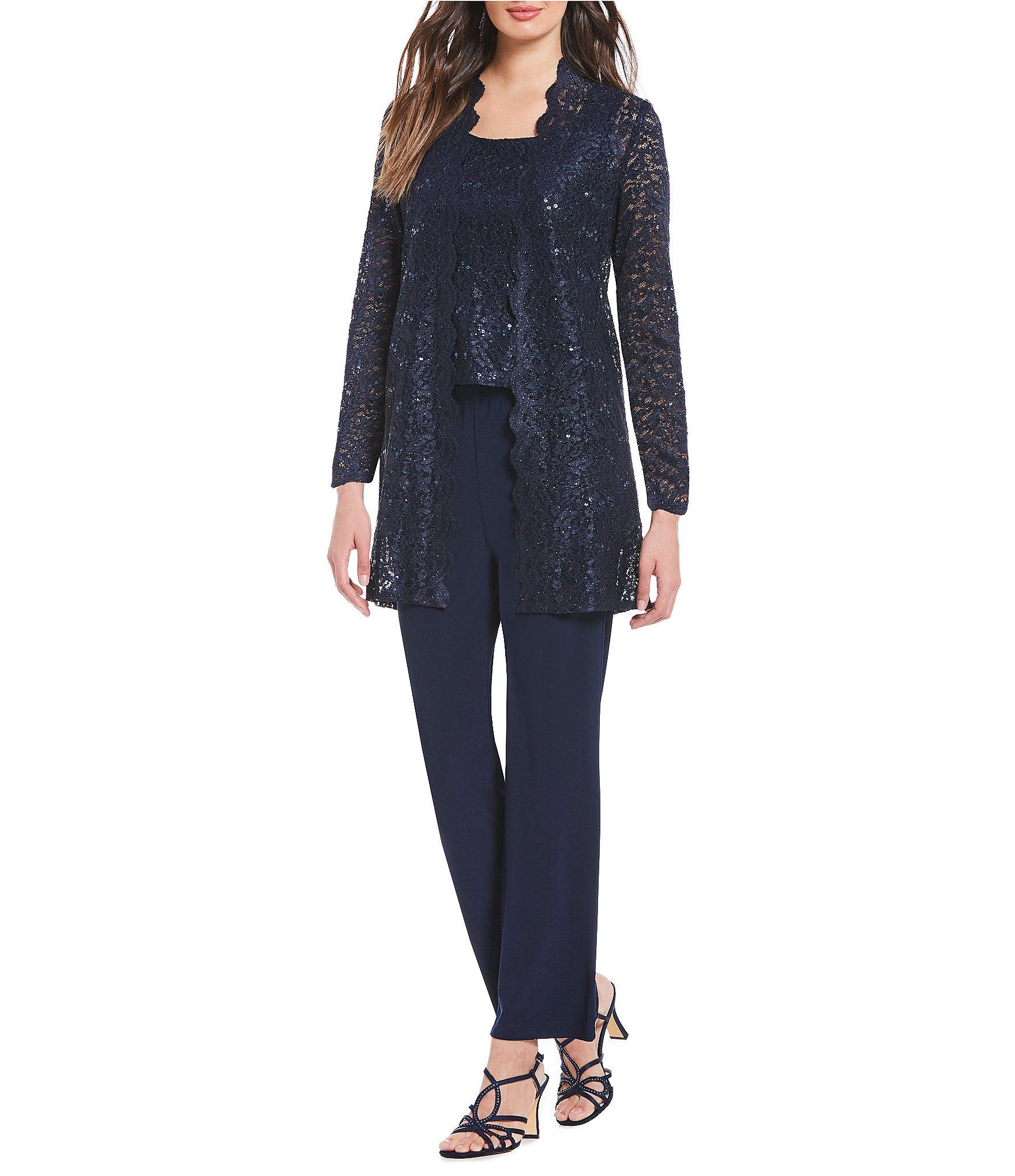 2ec145c874 R   M Richards. Women s Blue Petite 3-piece Scalloped Glitter Lace Duster  Stretch Pant Set
