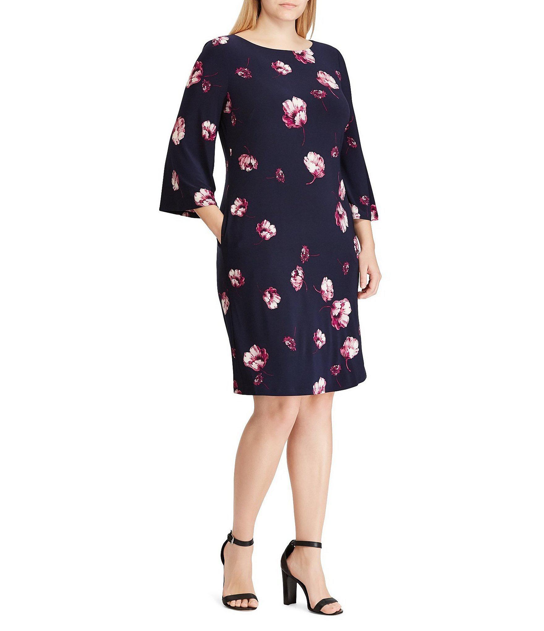ce3afc5e5e Lauren by Ralph Lauren. Women s Blue Plus Size Floral Print Jersey Shift  Dress