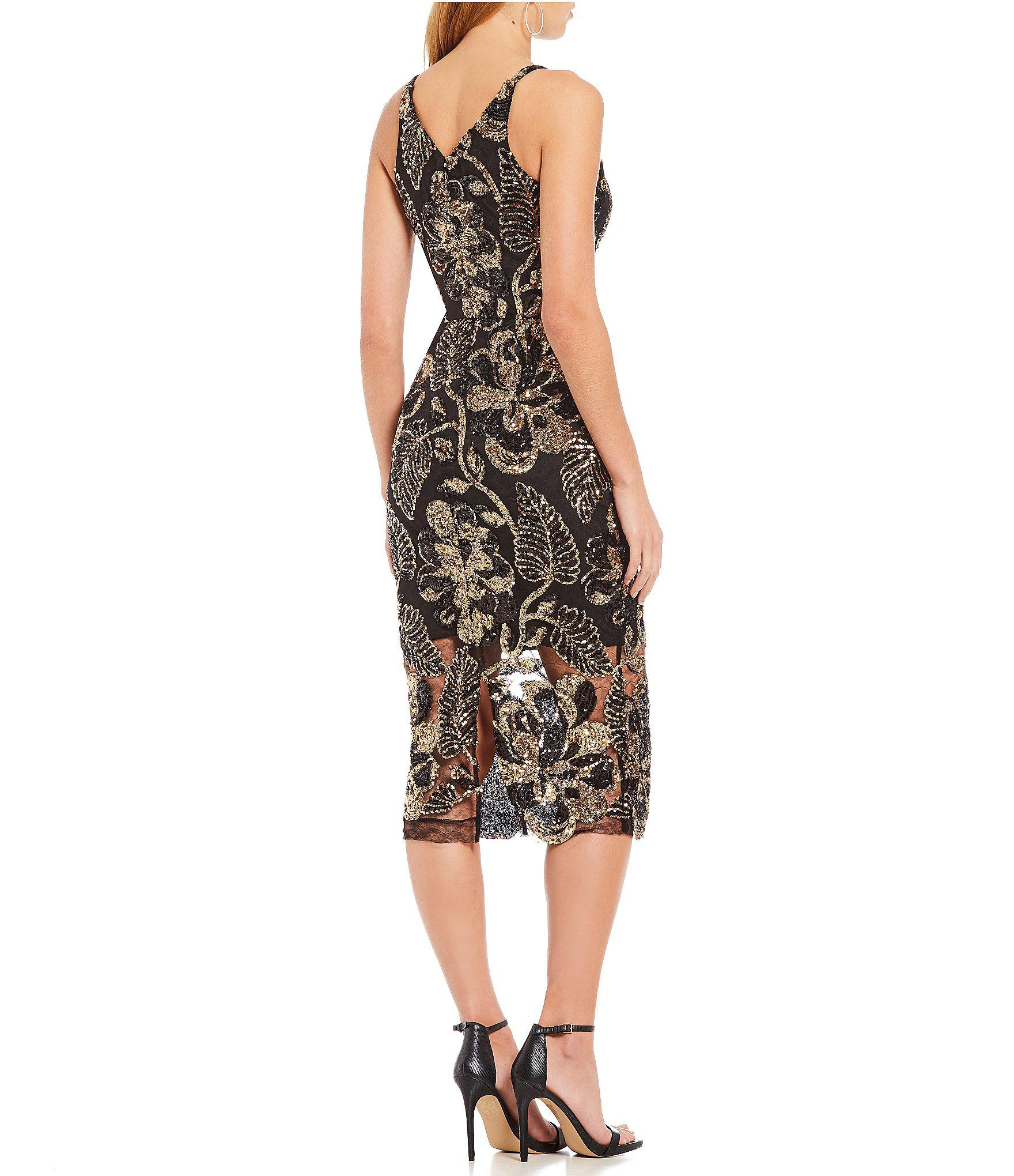 306fdb55 Dress the Population Margo Floral Sequin Midi Dress in Black - Lyst