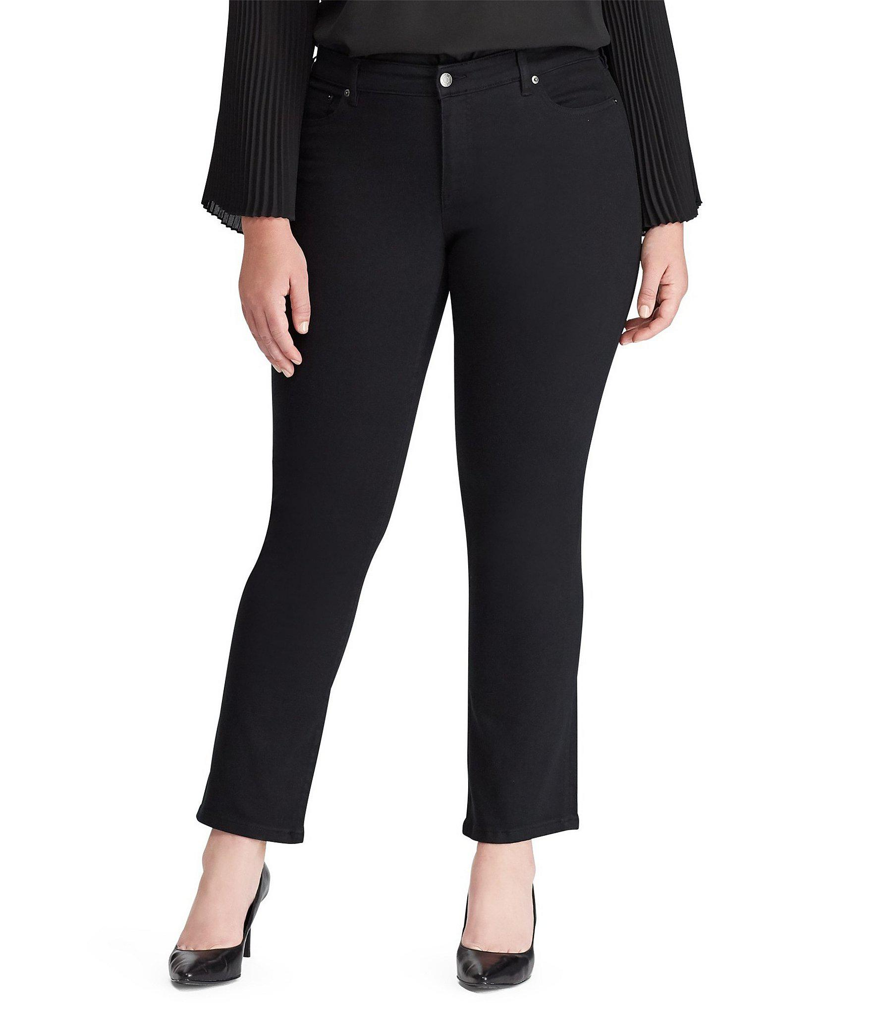 46b5ab3c272c5 Lauren by Ralph Lauren. Women s Black Plus Size Modern Straight Curvy Jeans