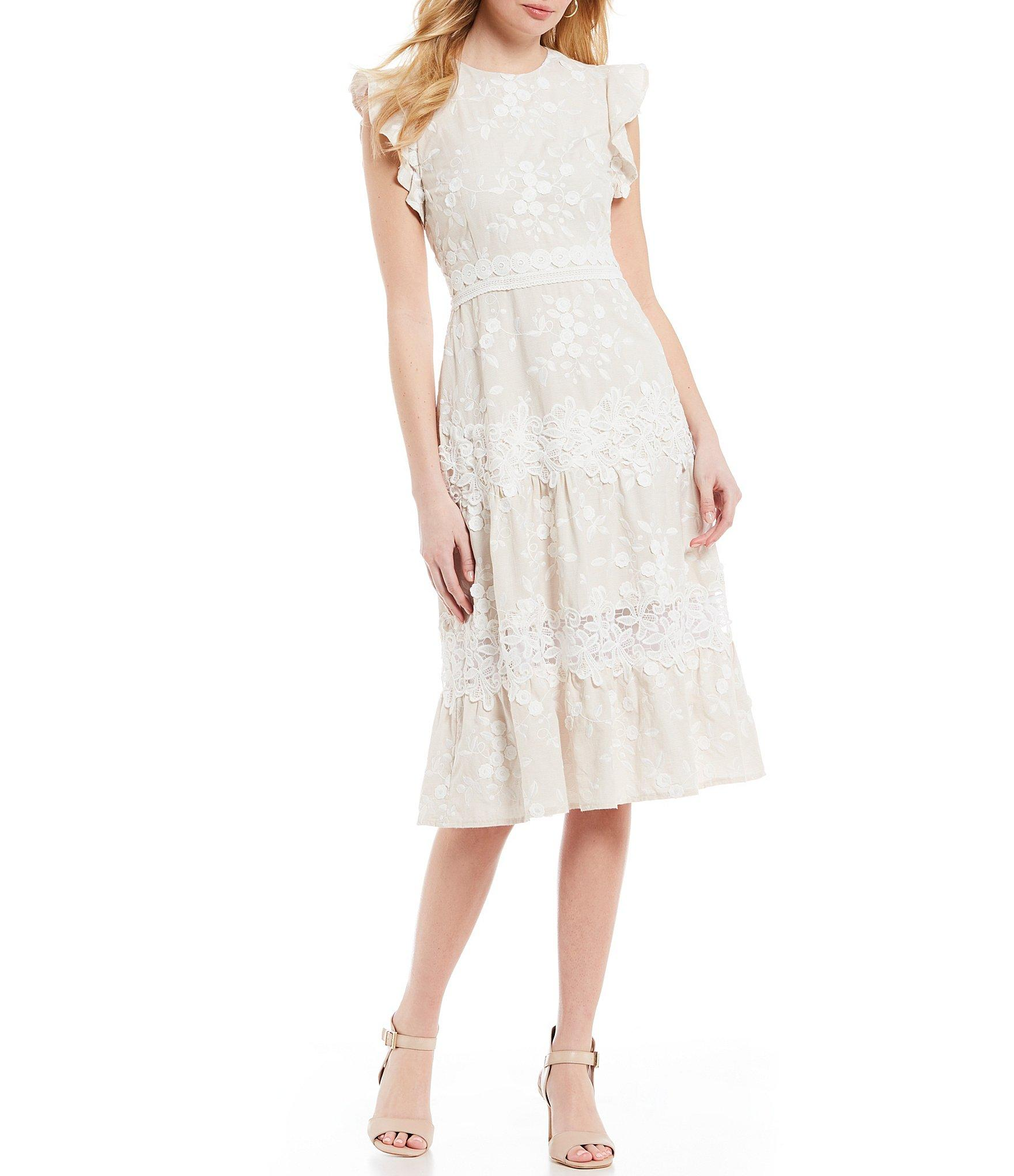 0fdeacb6984 Antonio Melani. Women s White Flutter Janet Sleeve Tiered Ruffle A-line  Midi Dress