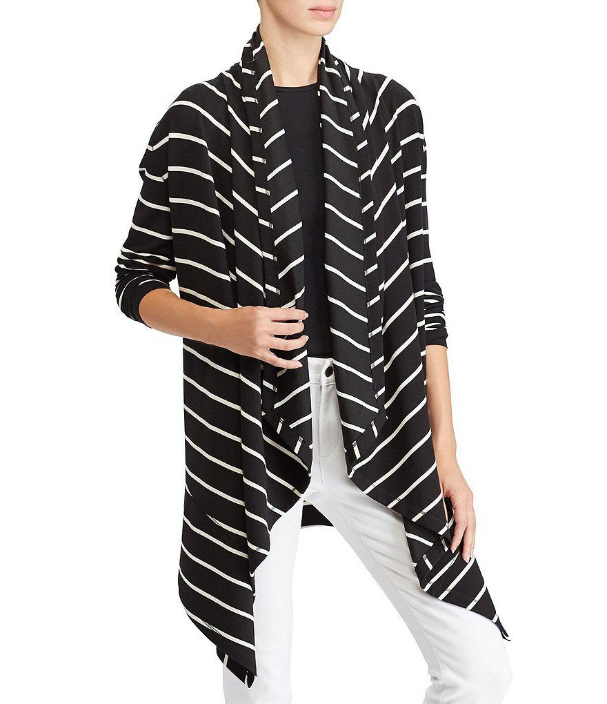 Lauren by ralph lauren Striped Hooded Cardigan in Black | Lyst