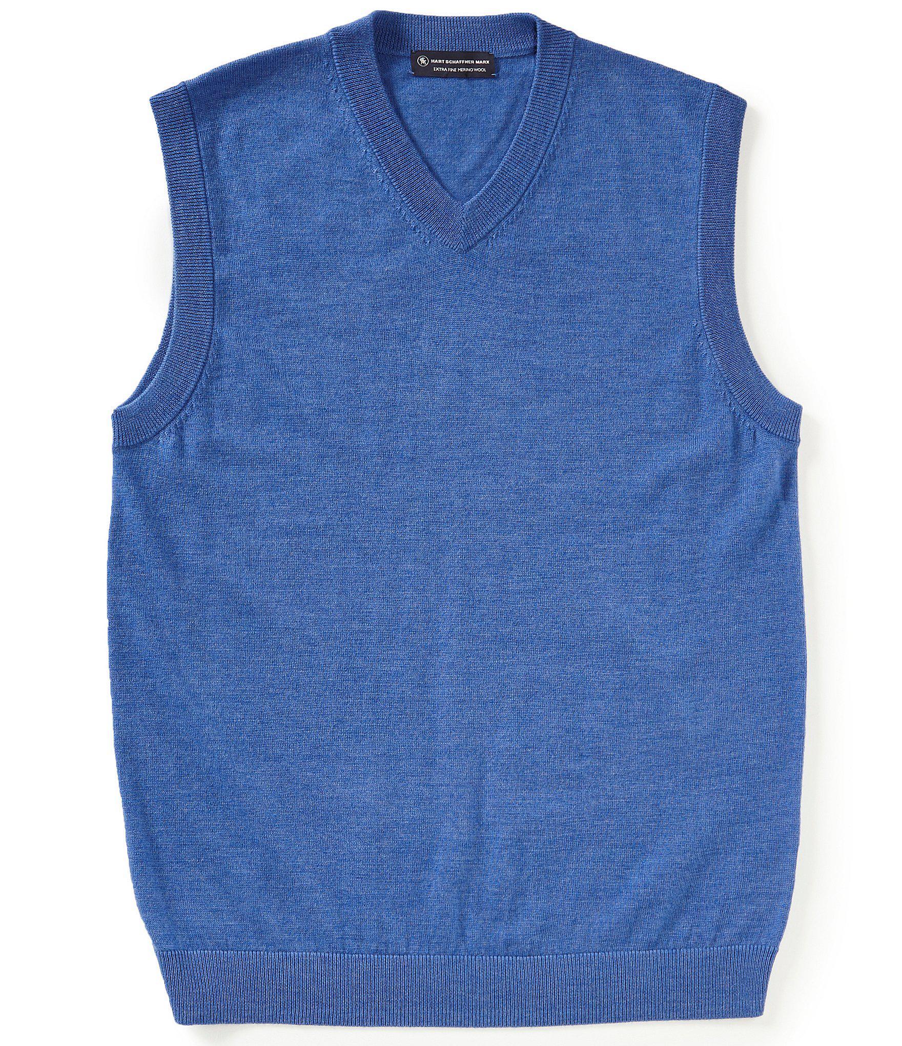 19761e0a9f Lyst - Hart Schaffner Marx Merino Wool V-neck Sweater Vest in Blue ...