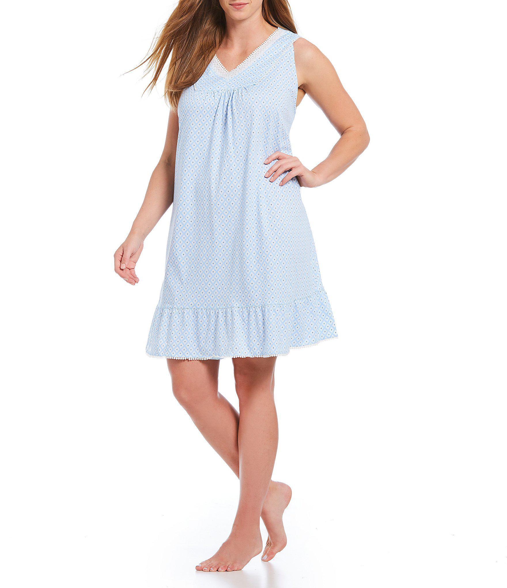 5fbab51b91 Lyst - Carole Hochman Plus Geometric Print Jersey Short Gown in Blue