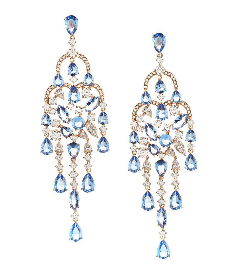 Lyst nadri blue chandelier statement earrings in blue gallery arubaitofo Image collections