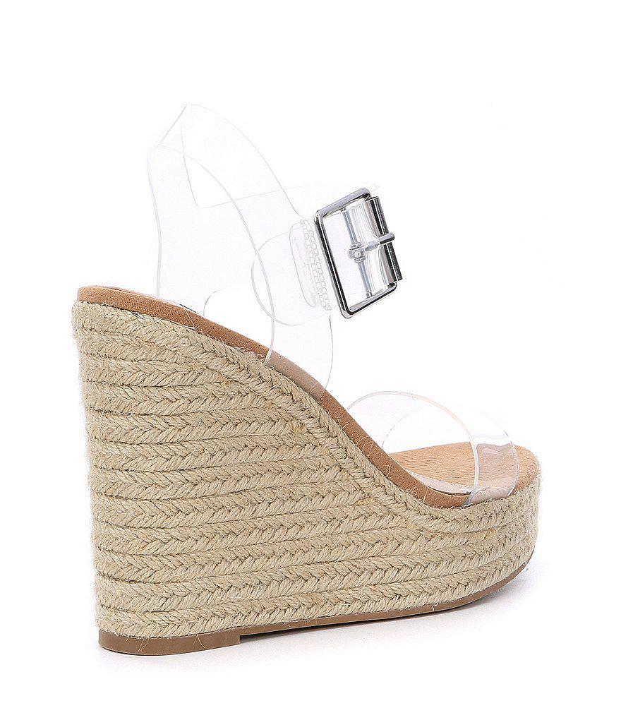 Splash Clear Transparent Banded Espadrille Wedge Sandals mCLGgJk5