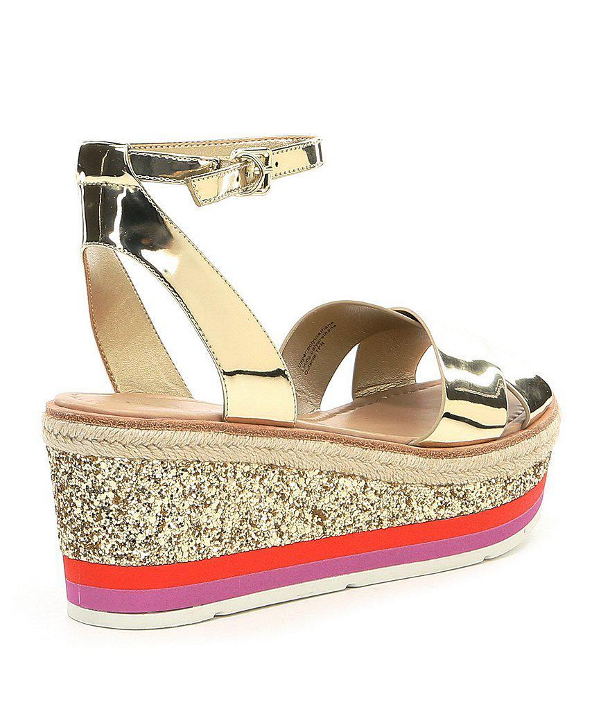 1ea7bfa21a8 Lyst - ALDO Asiella Metallic Glitter Flatform Sandals in Metallic