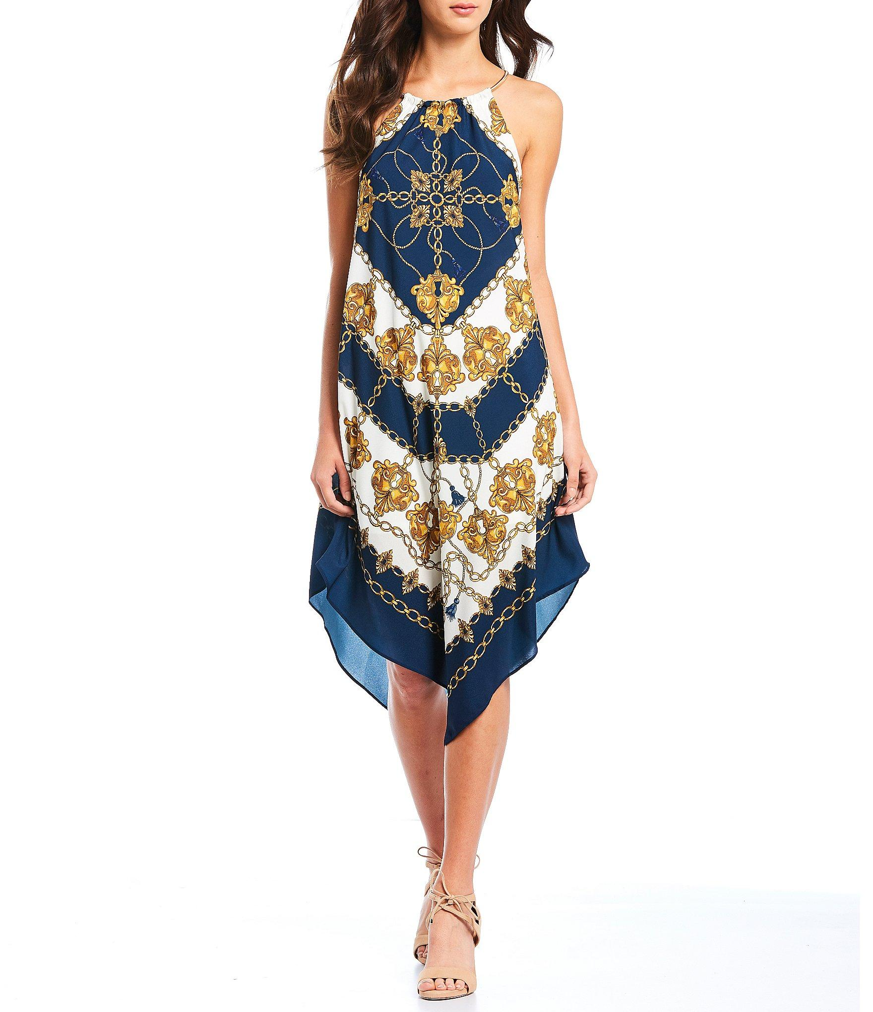 03f8172c53a Lyst - Adrianna Papell Printed Halter A-line Handkerchief Hem Dress ...