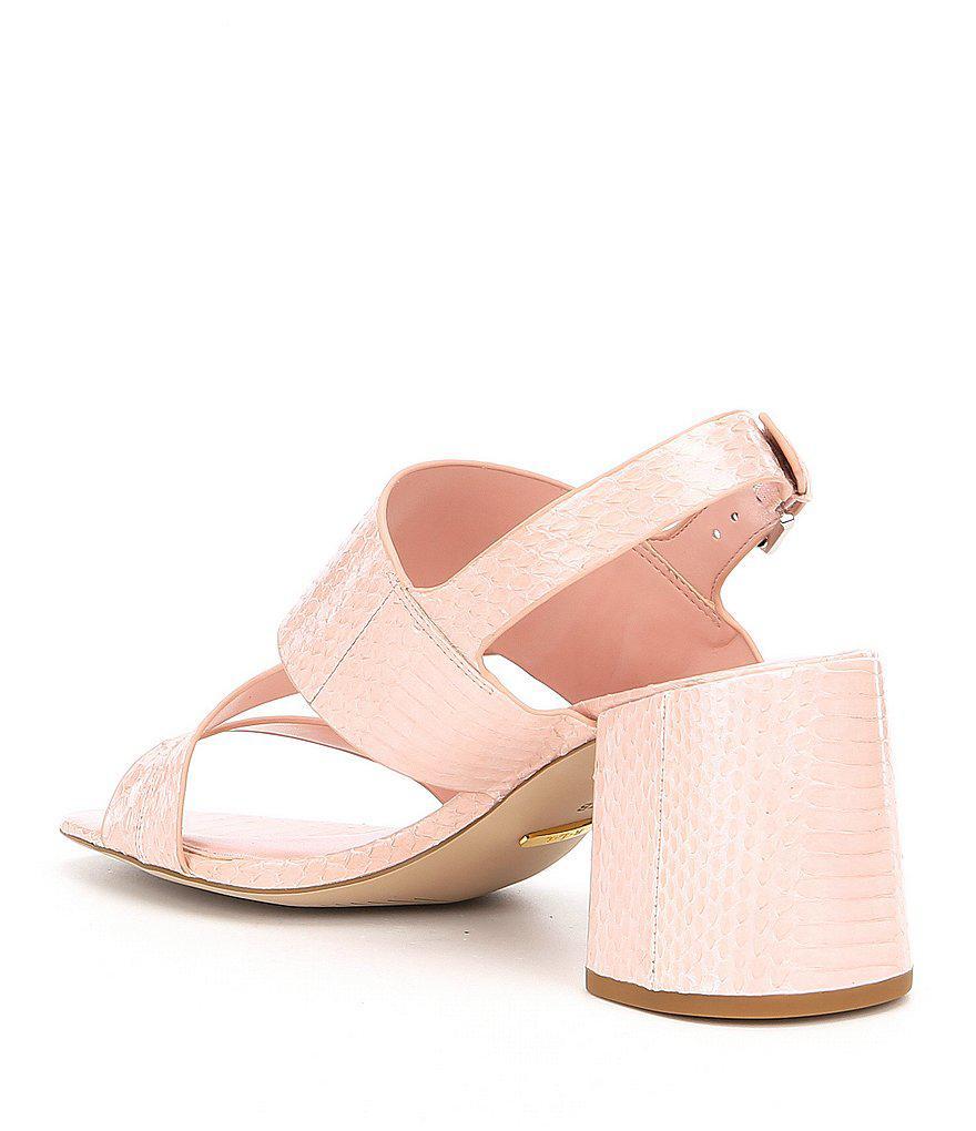 78159cbdd33 Lyst - Lauren by Ralph Lauren Florin Snake Embossed Dress Sandals in ...