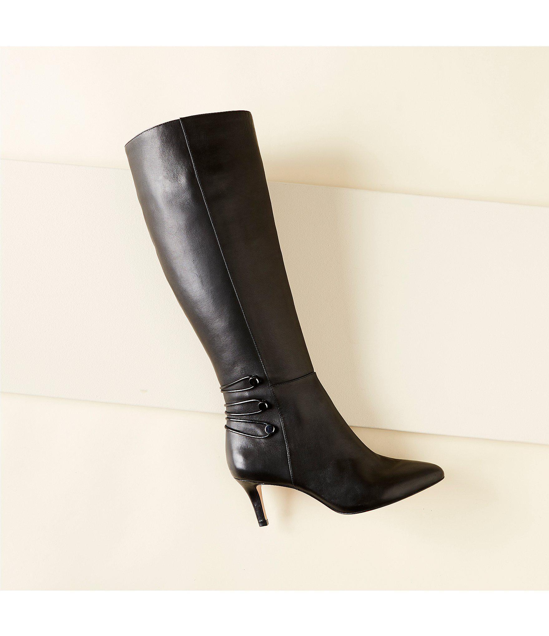 abebfa0838b Antonio Melani Fayee Leather Dress Boots in Black - Lyst