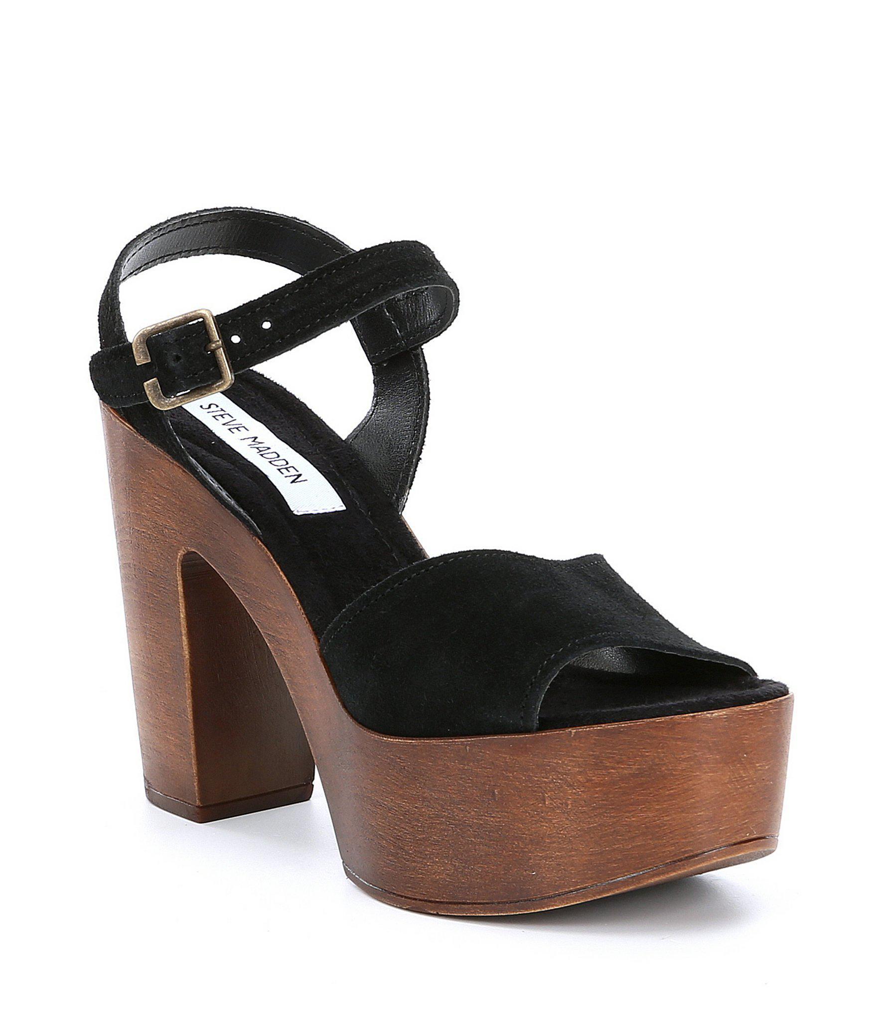 8d49fc9ffc9 Lyst - Steve Madden Lulla Suede Platform Block Heel Sandals in Black