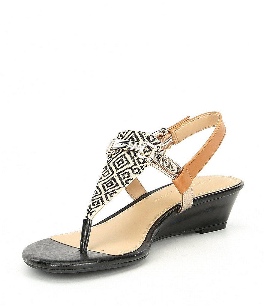 Amirah Canvas Wedge Thong Sandals 3kmc7euQ