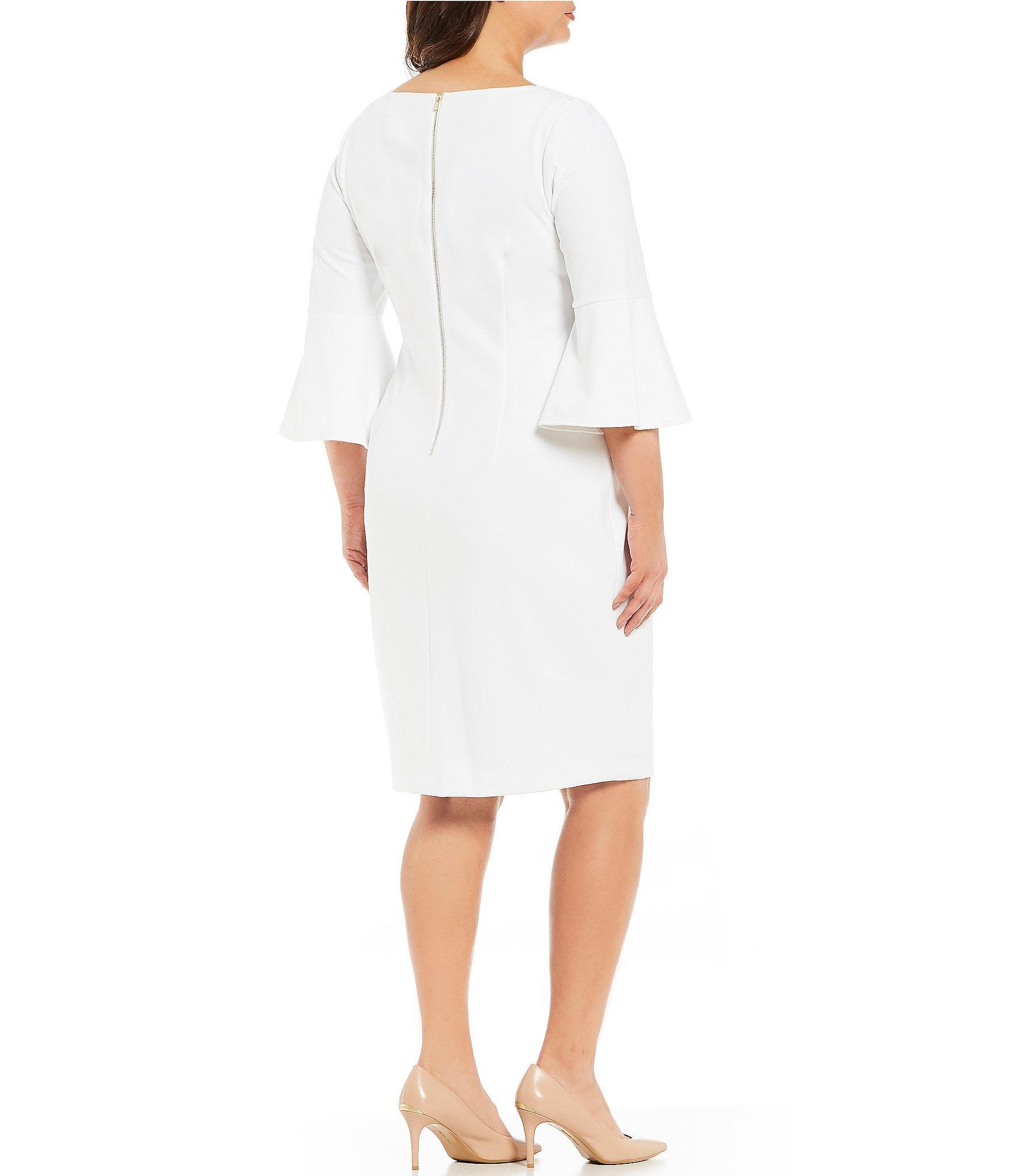 4a42f48621 Calvin Klein - White Plus Size Round Neck Bell Sleeve Sheath Dress - Lyst.  View fullscreen