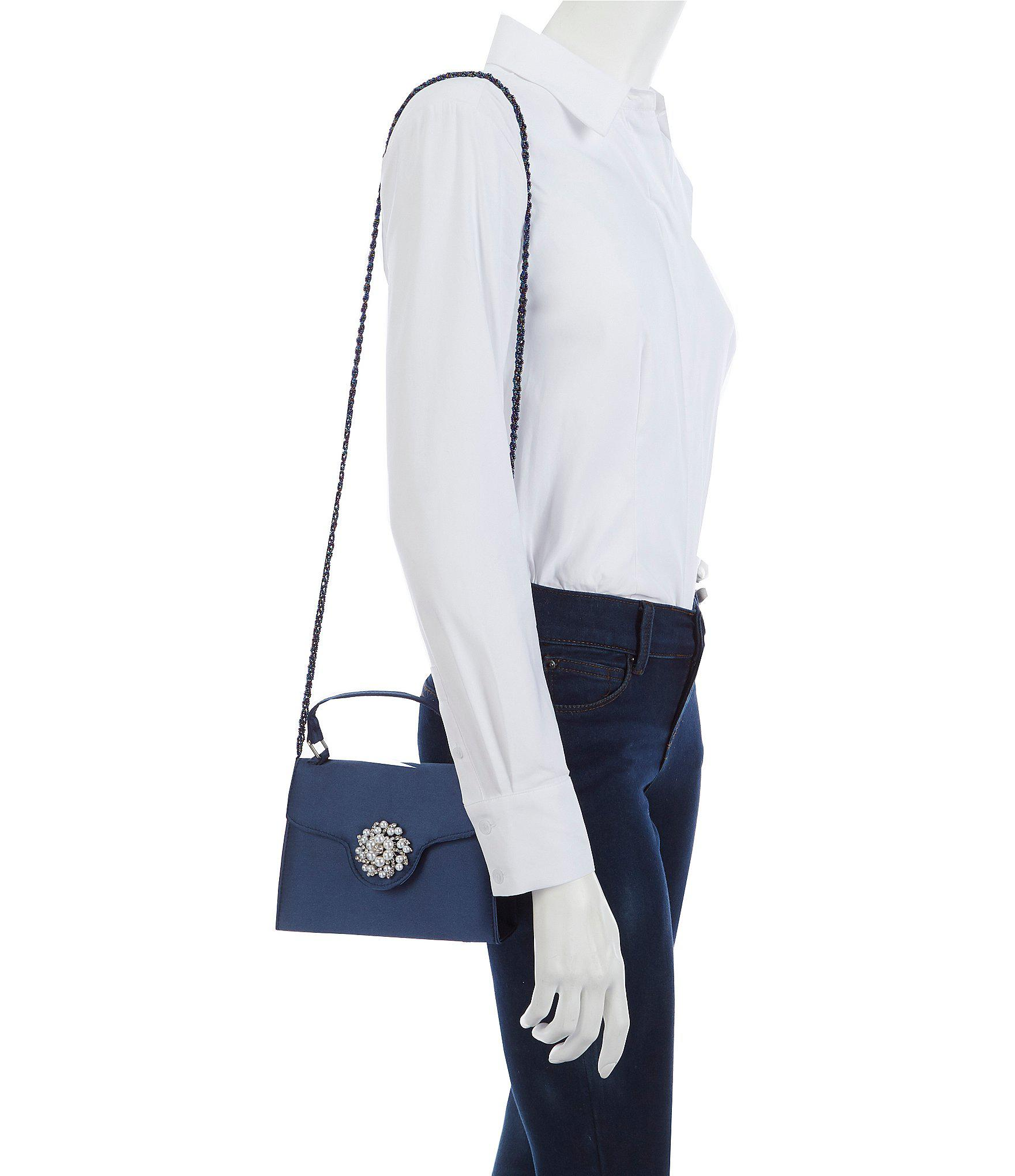 42ecf8576 Lyst - Nina Top-handle Crystal Jeweled Satin Clutch in Blue