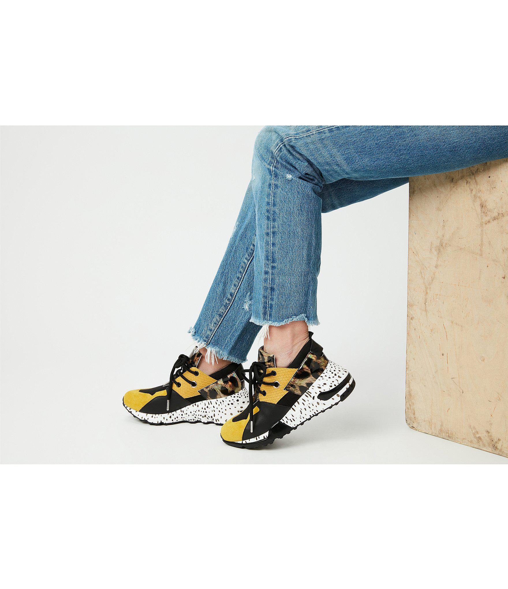 fd7b3524dd4 Lyst - Steve Madden Cliff Leather And Suede Animal Print Sneakers