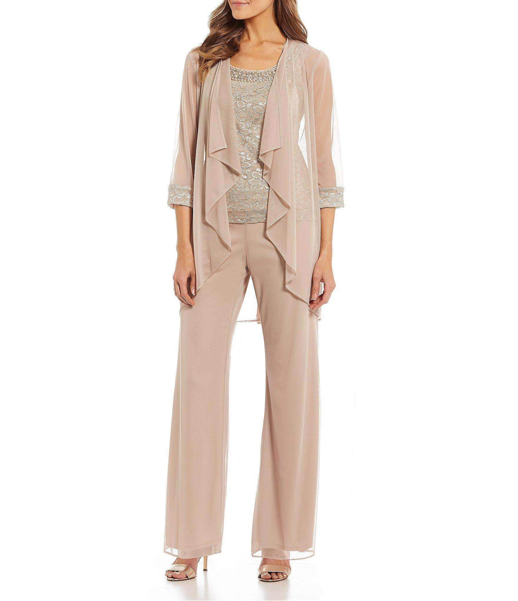 9719a2ddfa1 R   M Richards 3-piece Glitter Lace Flyaway Pant Set in Natural - Lyst