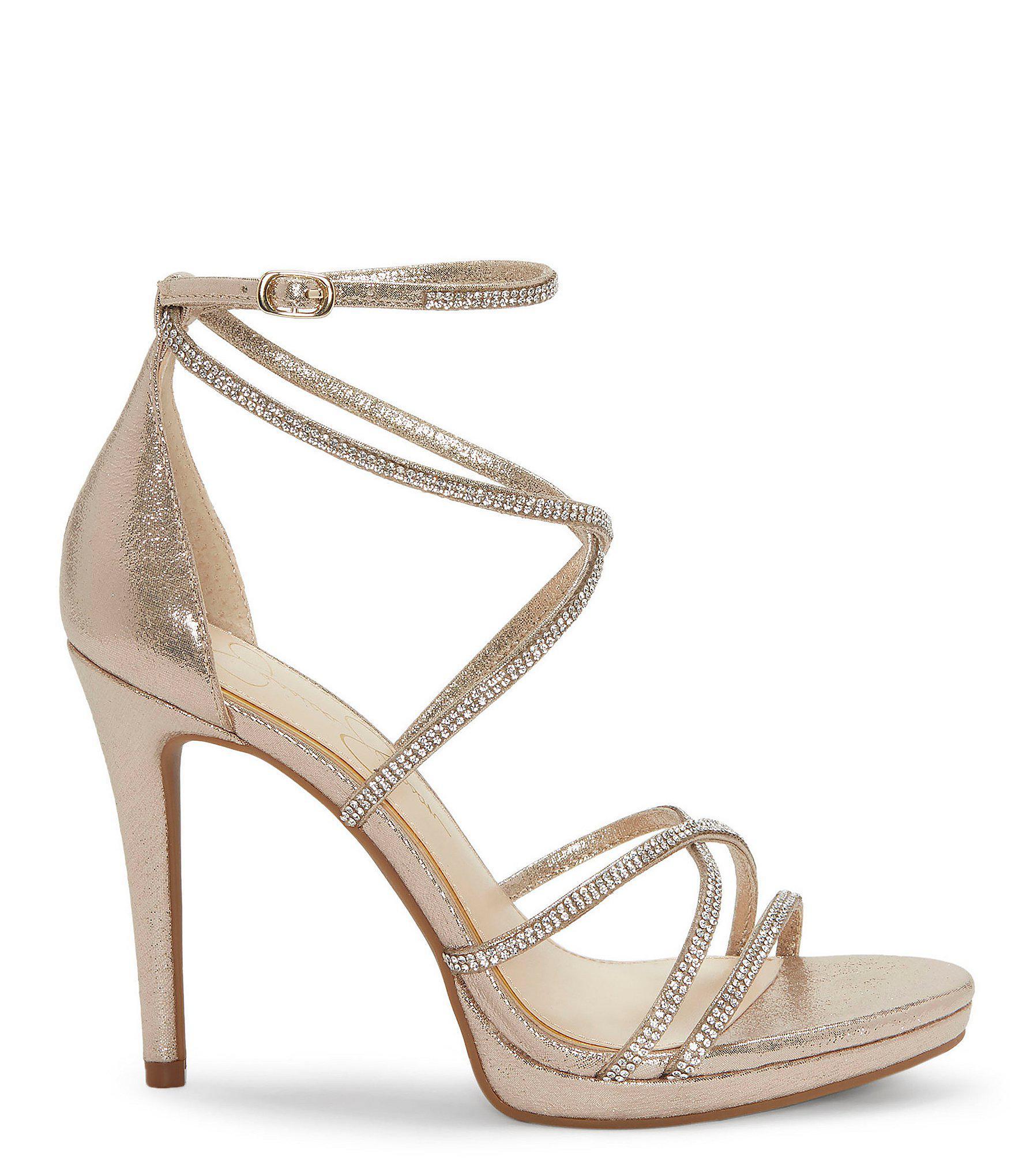9cd7321a3b7 Jessica Simpson - Metallic Jaeya Rhinestone Strappy Dress Sandals - Lyst.  View fullscreen
