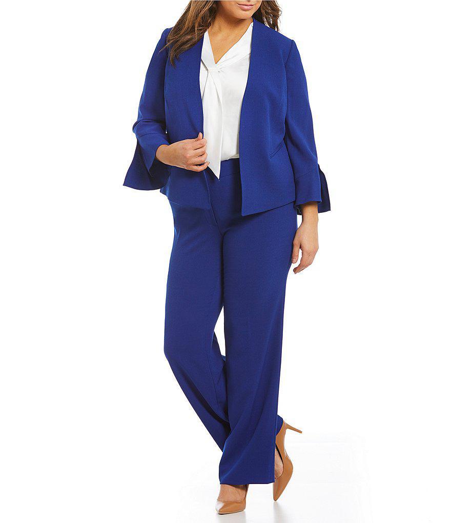 f57e7c59438 Lyst - Tahari Plus Bell-sleeve Crepe Pant Suit in Blue
