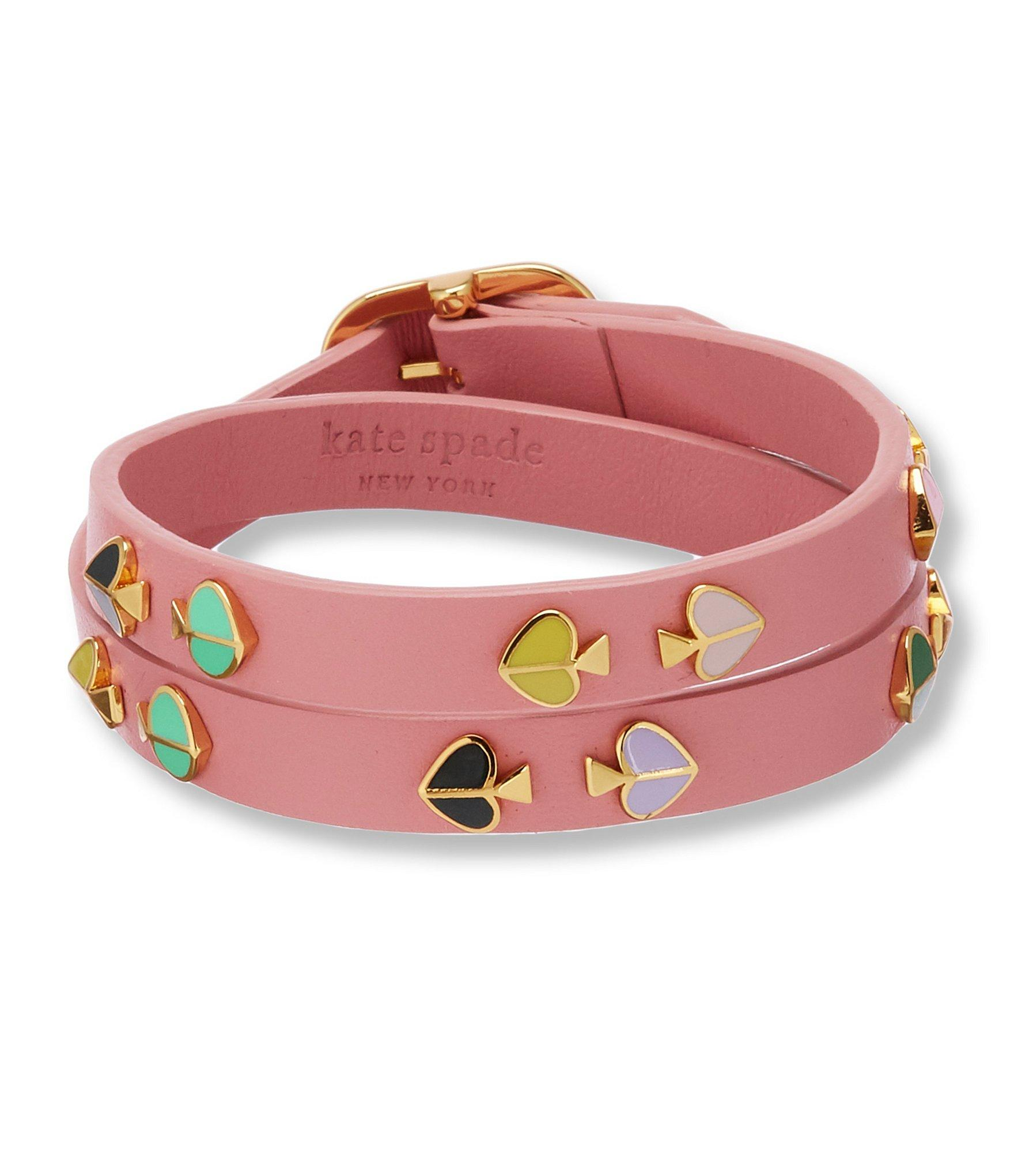 3ff9d734c2d4ce Kate Spade - Pink Heritage Spade Double Wrap Leather Bracelet - Lyst. View  fullscreen