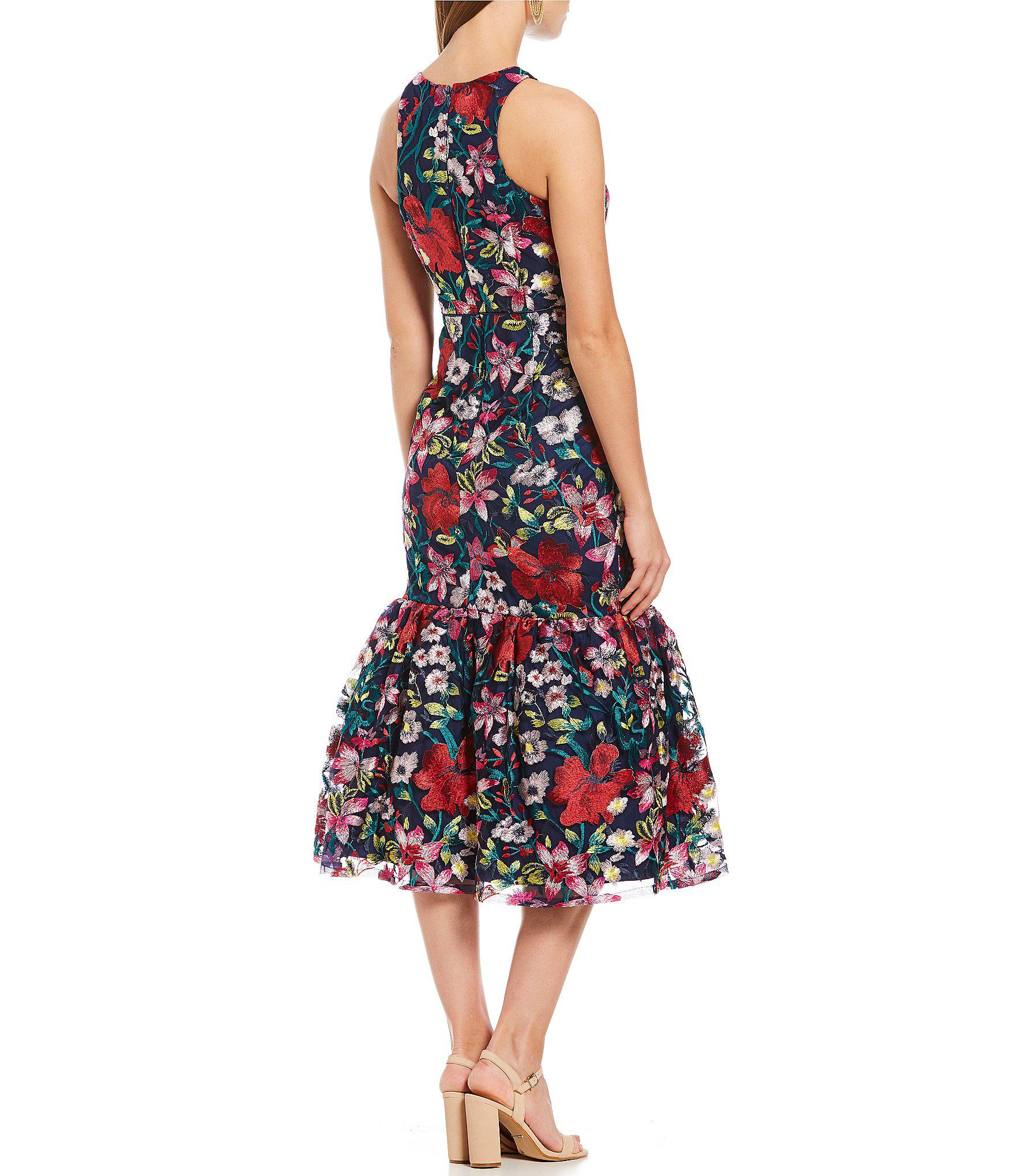 c89ef029c33 Gianni Bini Misty Floral Embroidered Fluted Midi Dress in Pink - Lyst