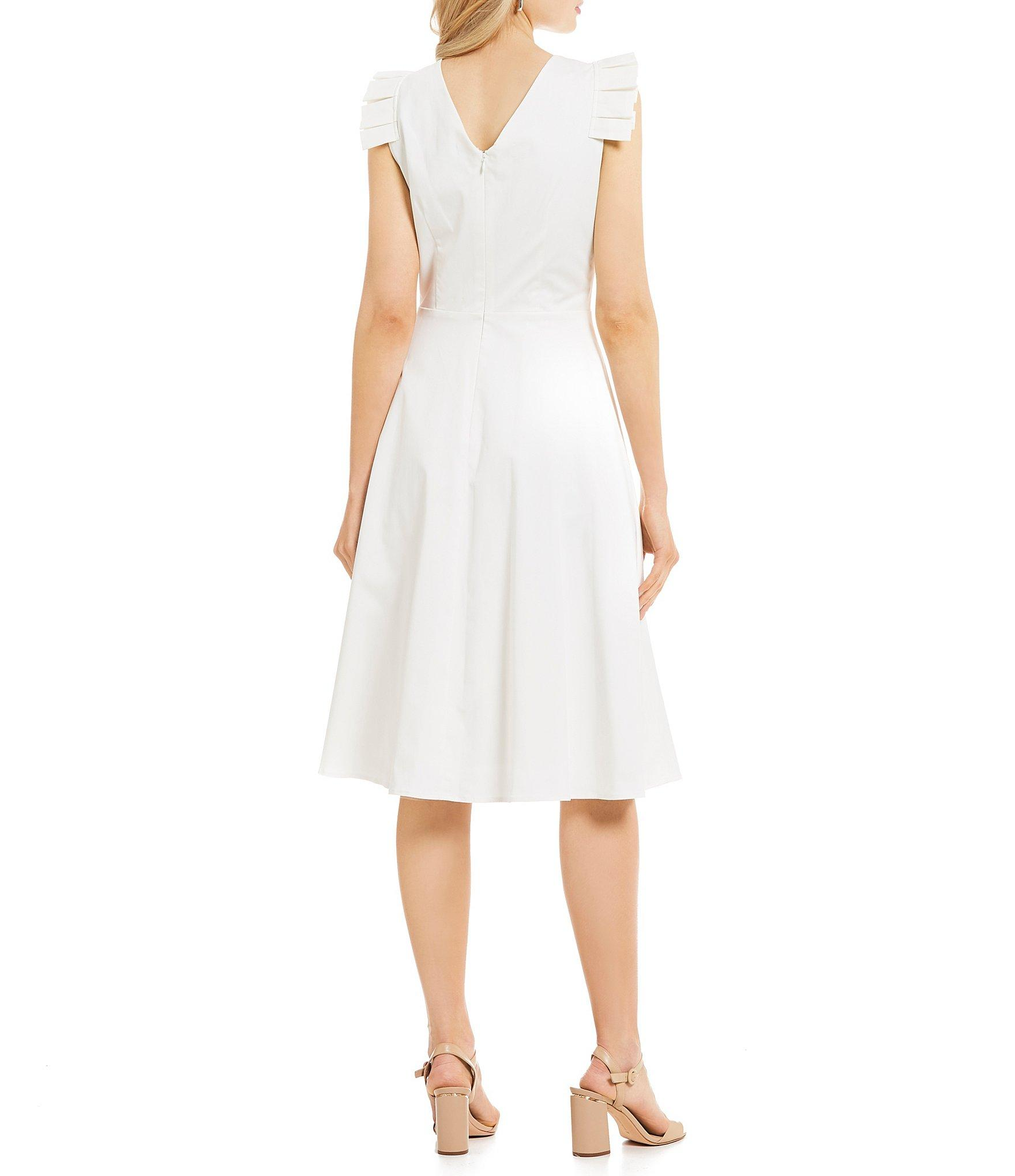 5f704e2d007 Antonio Melani - White Lois Pleated Cap Sleeve Fit   Flare Midi Dress - Lyst.  View fullscreen