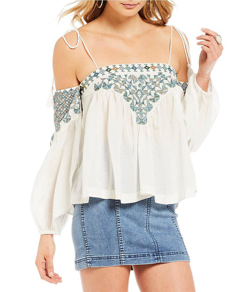 8a4d520d4b9a6 Lyst - Free People Vacay Vibin Woven Top in White