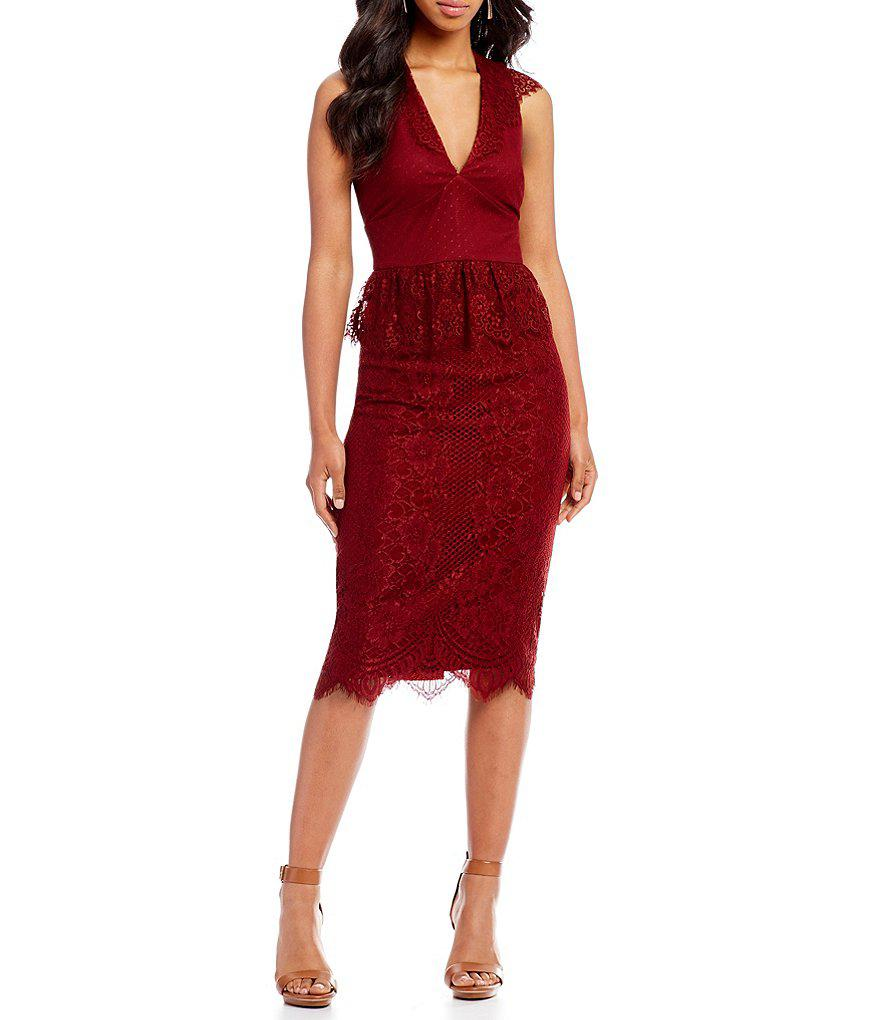 3a10c45368 Gianni Bini Melissa Lace Midi Dress in Red - Lyst