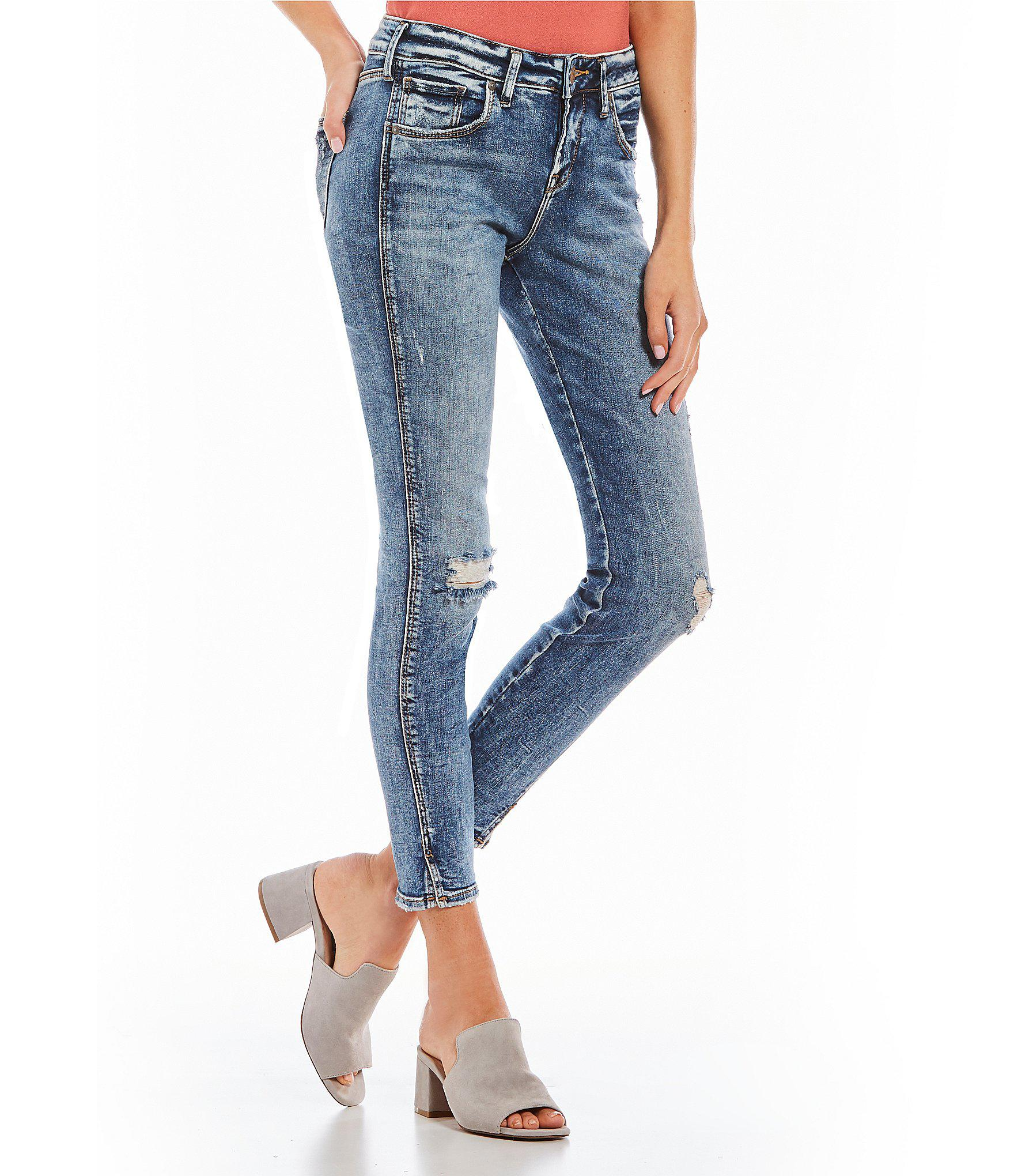 7703abd0 Silver Jeans Co. Avery Relaxed-fit Acid-wash Ankle Skinny Jeans in ...