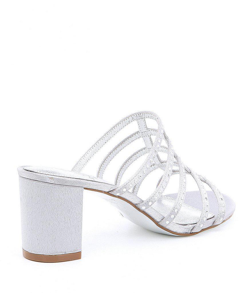 Adrianna Papell Apollo Satin Caged Rhinestone Block Heel Dress Sandals w1Fpf1vS