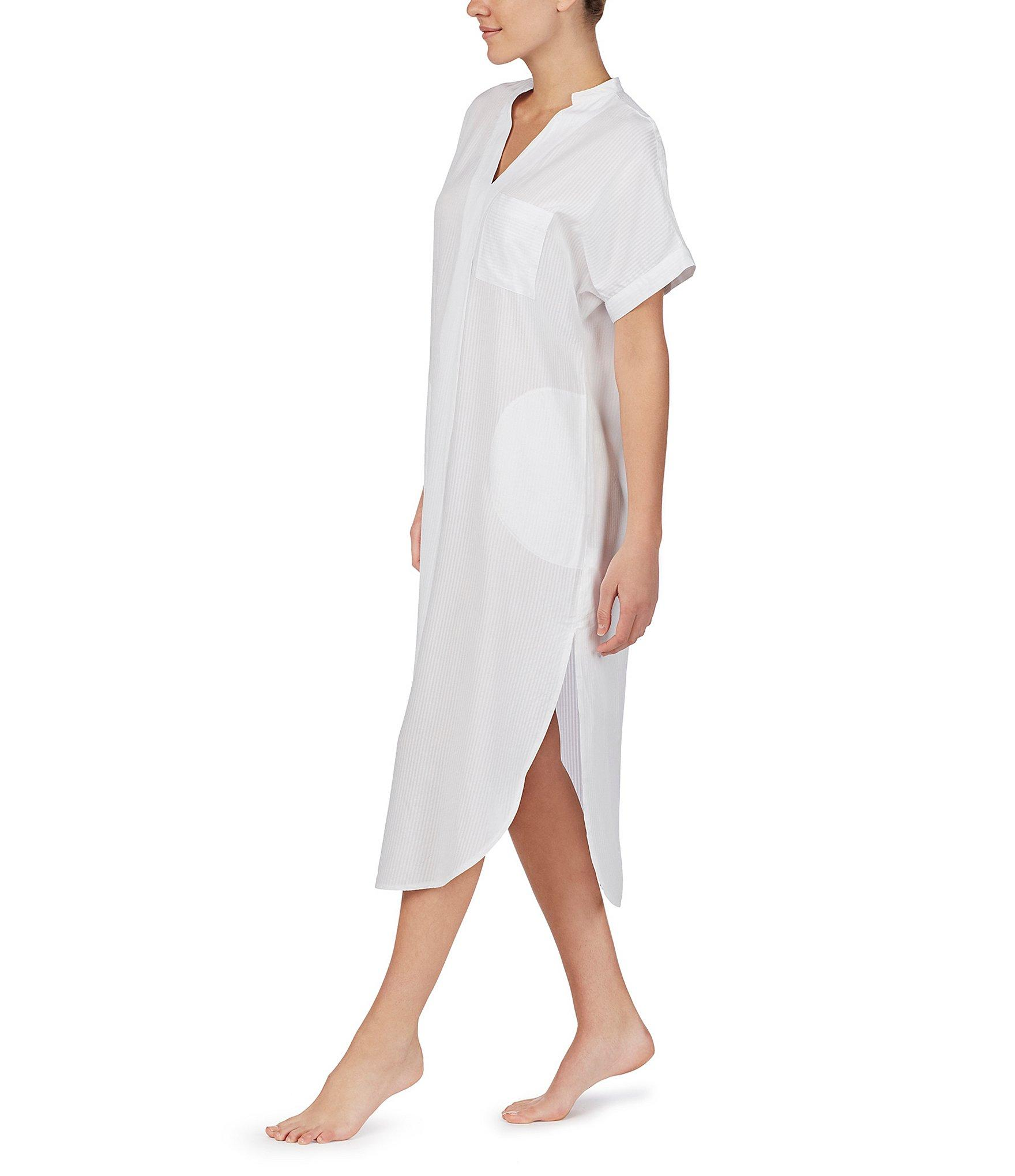 24018652c19cda Donna Karan - White Striped Print Maxi Sleep Shirt - Lyst. View fullscreen