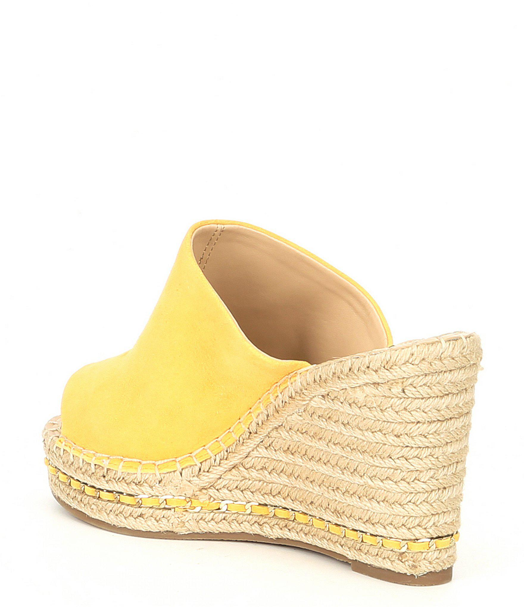 e1efb487ef Karl Lagerfeld Carina Leather Espadrille Wedges in Yellow - Lyst