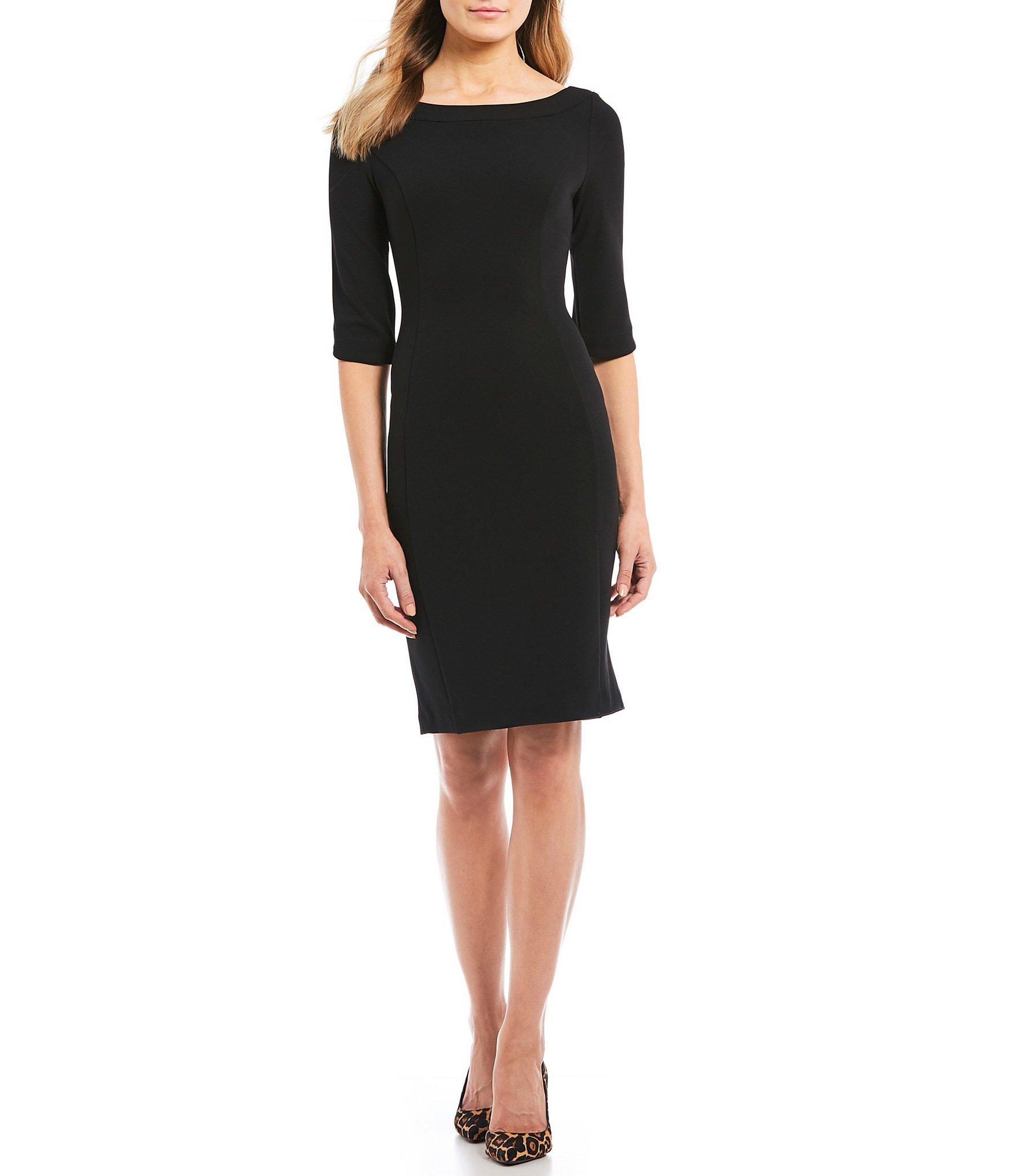 8540146b9a0 Lyst - Calvin Klein Boat Neck Tulip Sleeve Sheath Dress in Black