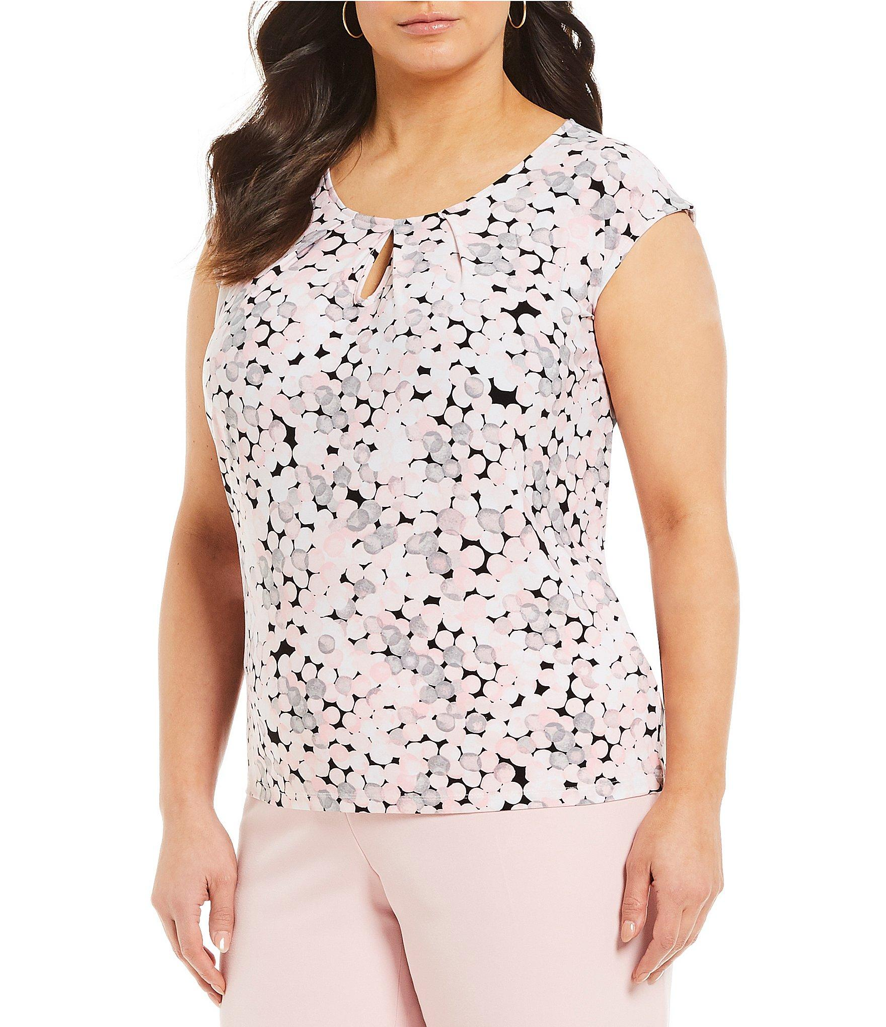 5591227c0b2a65 Lyst - Kasper Plus Size Pleated Multi Dot Sleeveless Top in Pink